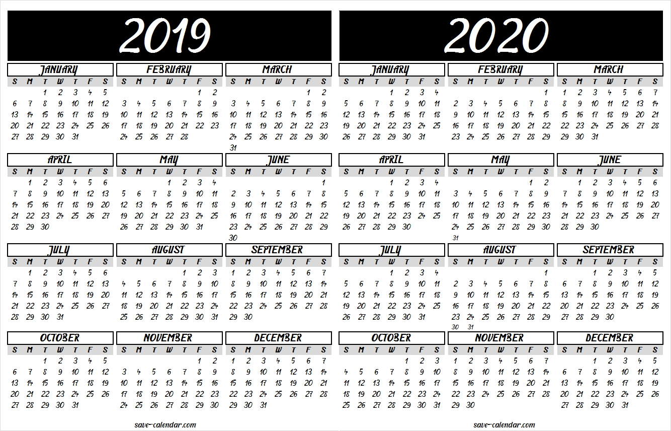 2019 2020 Calendar Printable | Calendar Design, Templates intended for Yearly Calendar In One Page 2019-2020