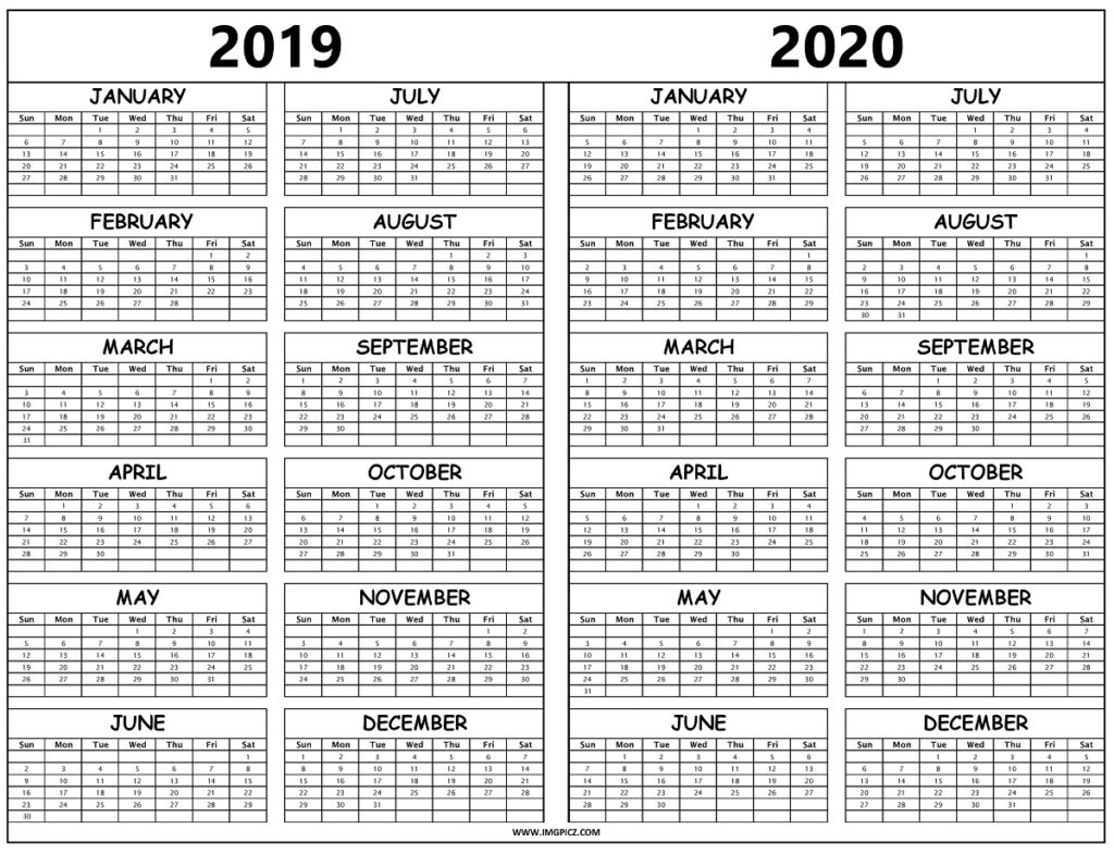 2019 2020 Calendar Printable Template On One Sheet | Excel for Blank Calendar 2019 2020 To Fill In