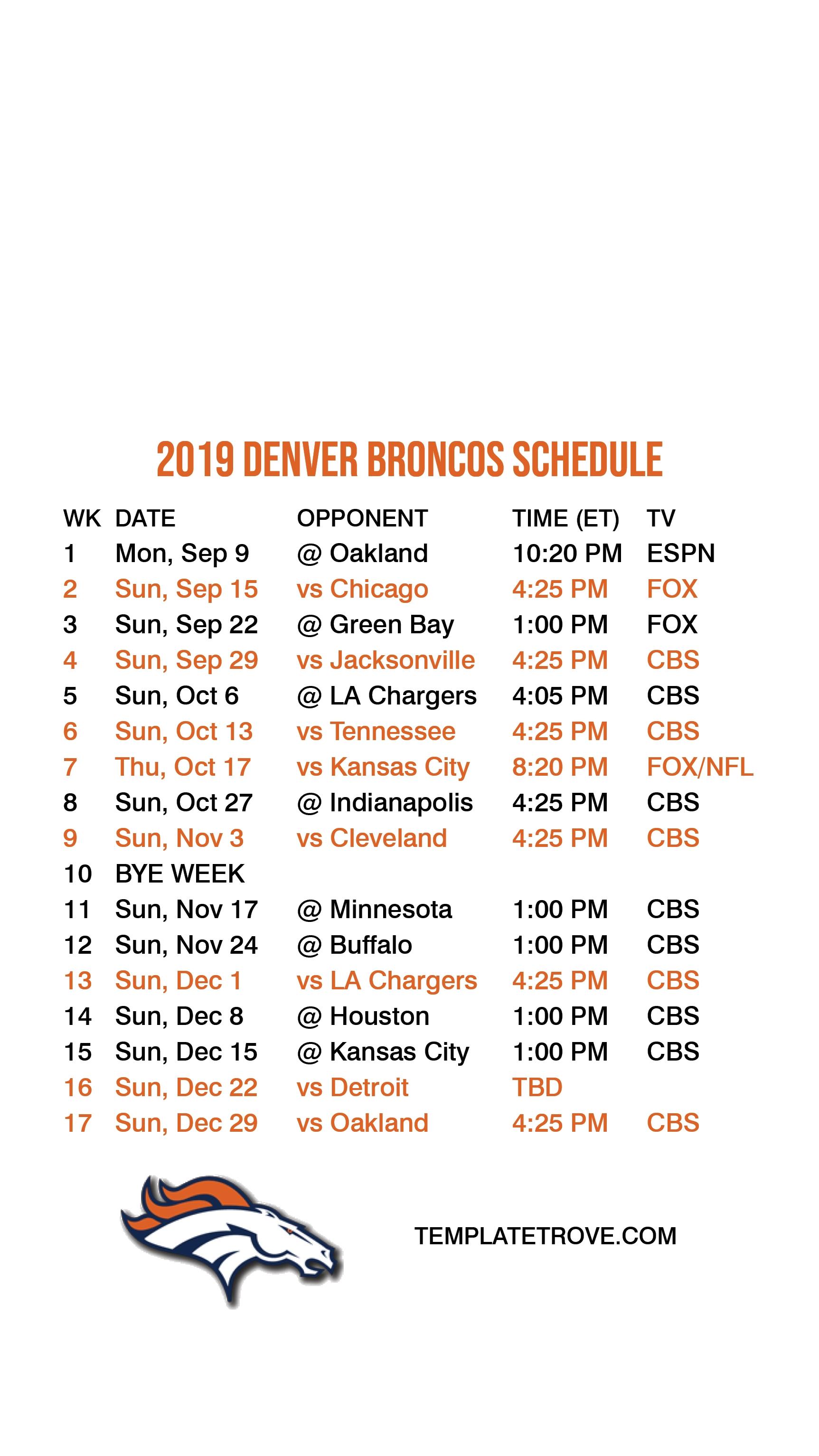 2019-2020 Denver Broncos Lock Screen Schedule For Iphone 6-7 for Printable Nfl Schedule 2019 2020 Season