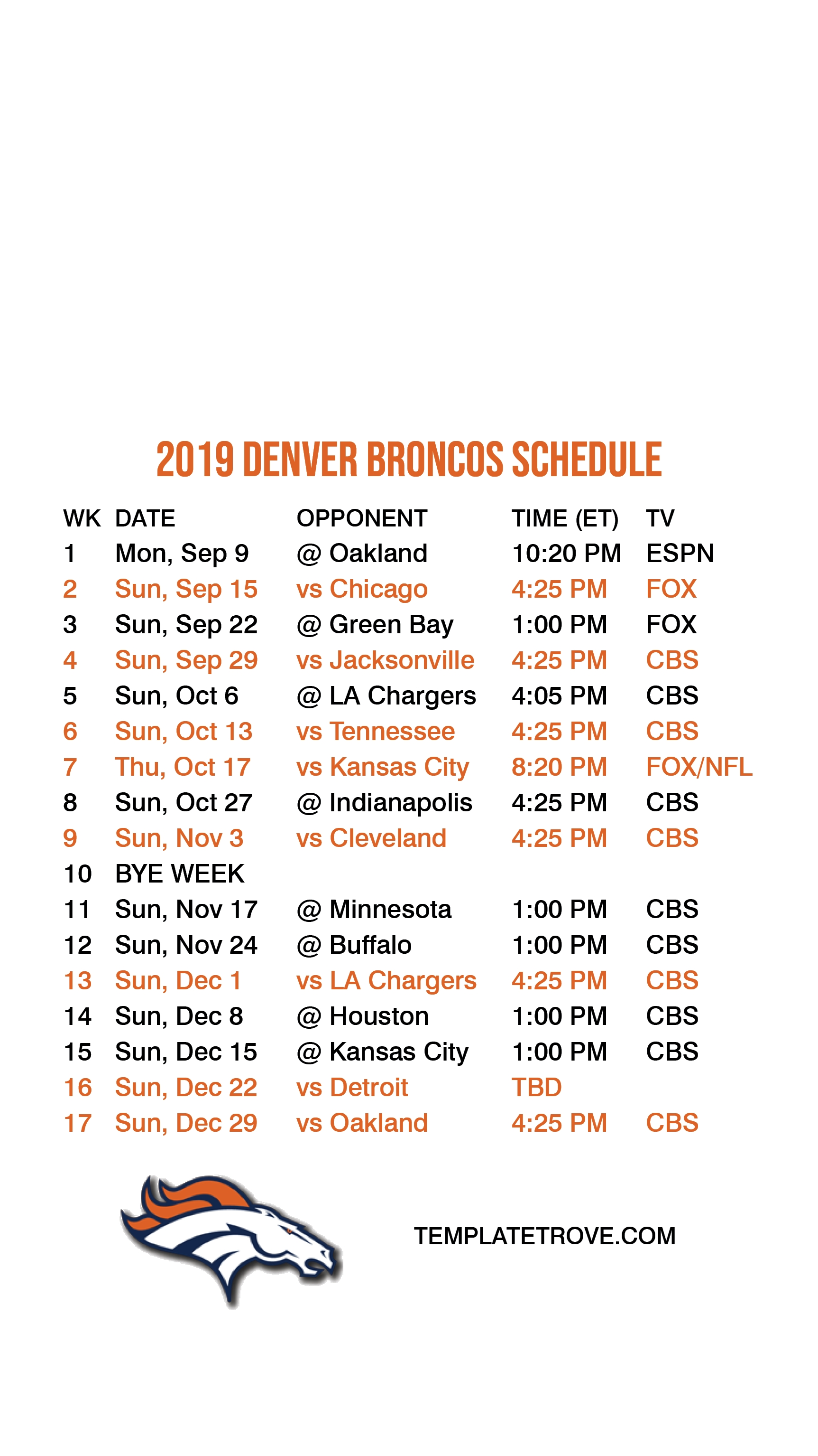 2019-2020 Denver Broncos Lock Screen Schedule For Iphone 6-7 within Printable Nfl Schudule For 2019-2020