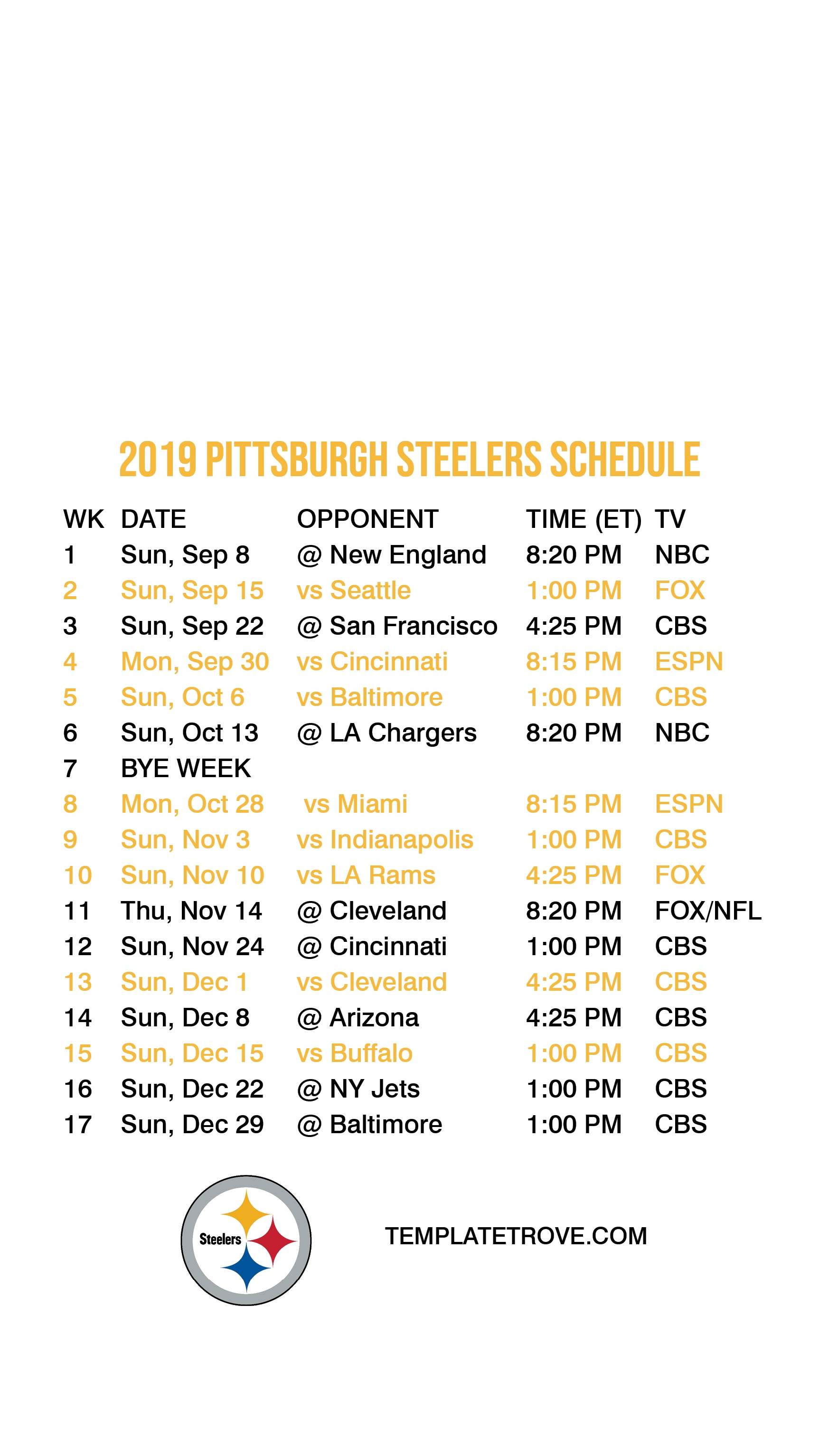 2019-2020 Pittsburgh Steelers Lock Screen Schedule For for 2019 2020 Nfl Schedule Printable