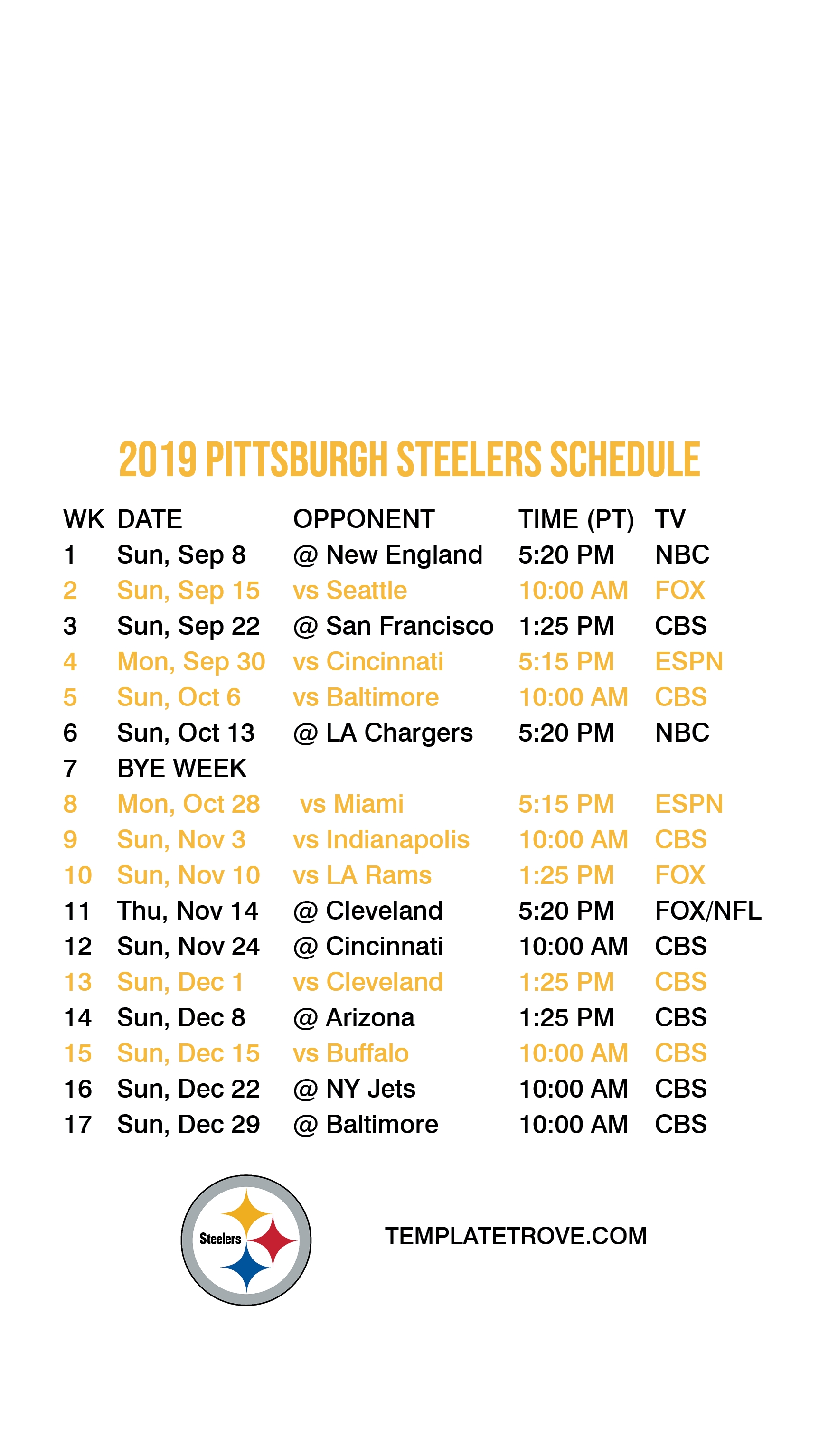 2019-2020 Pittsburgh Steelers Lock Screen Schedule For throughout 2019 2020 Nfl Printable Schedule