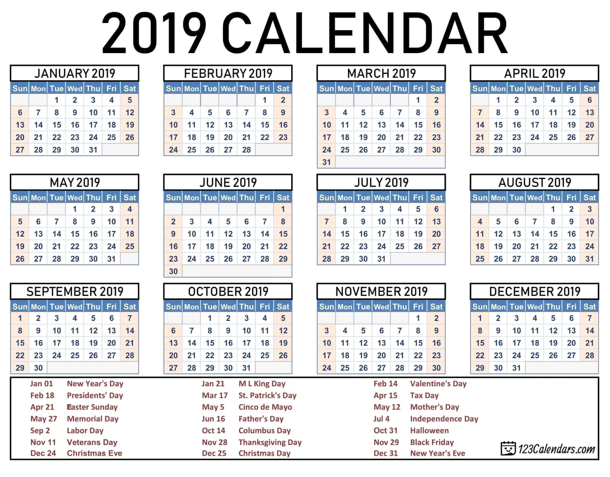 2019 2020 School Year Calendar Template Year 2019 Printable throughout Microsoft Word Calendar Template 2019-2020