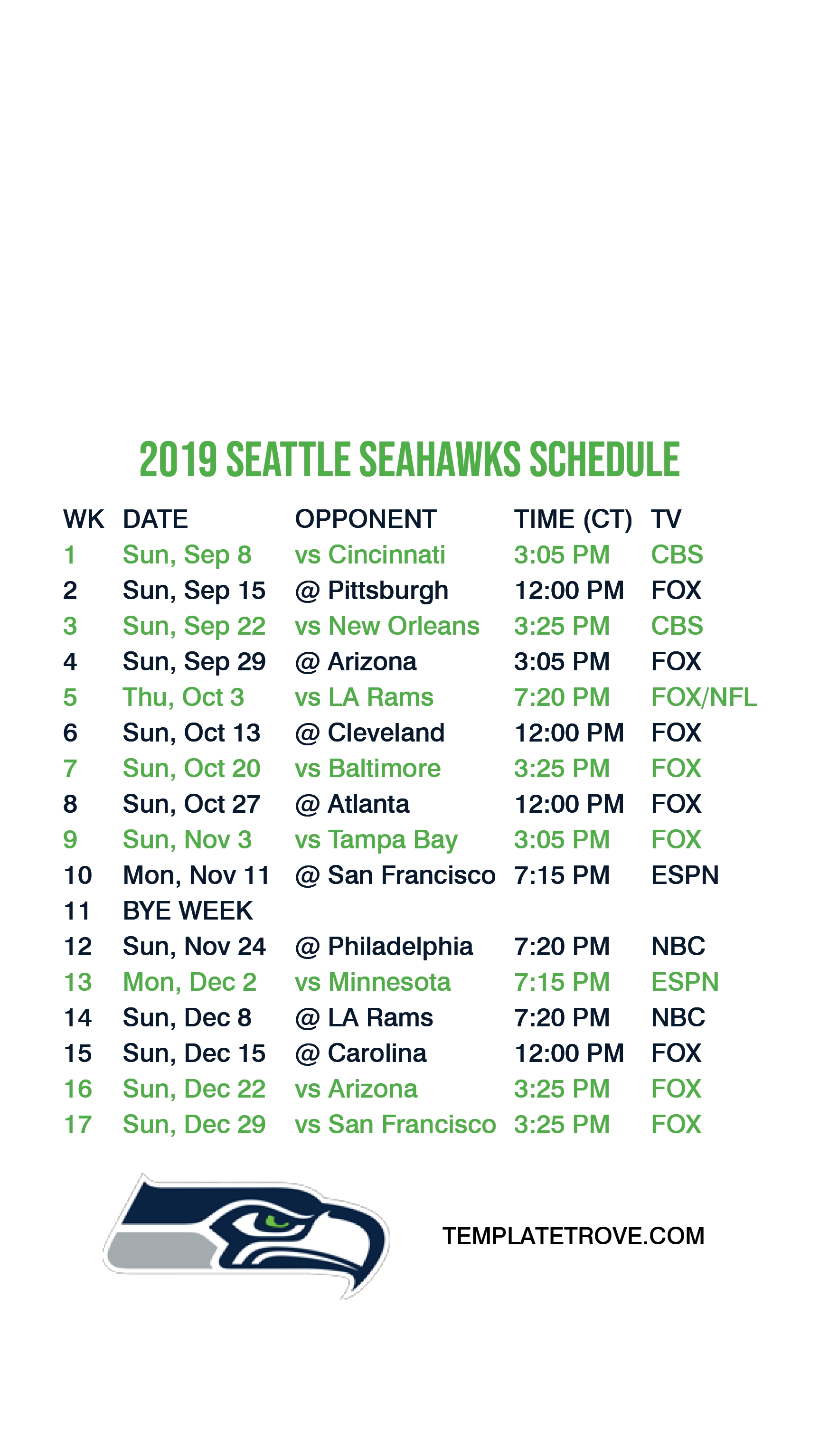 2019-2020 Seattle Seahawks Lock Screen Schedule For Iphone 6 intended for Seahawks 2019 2020 Schedule Printable