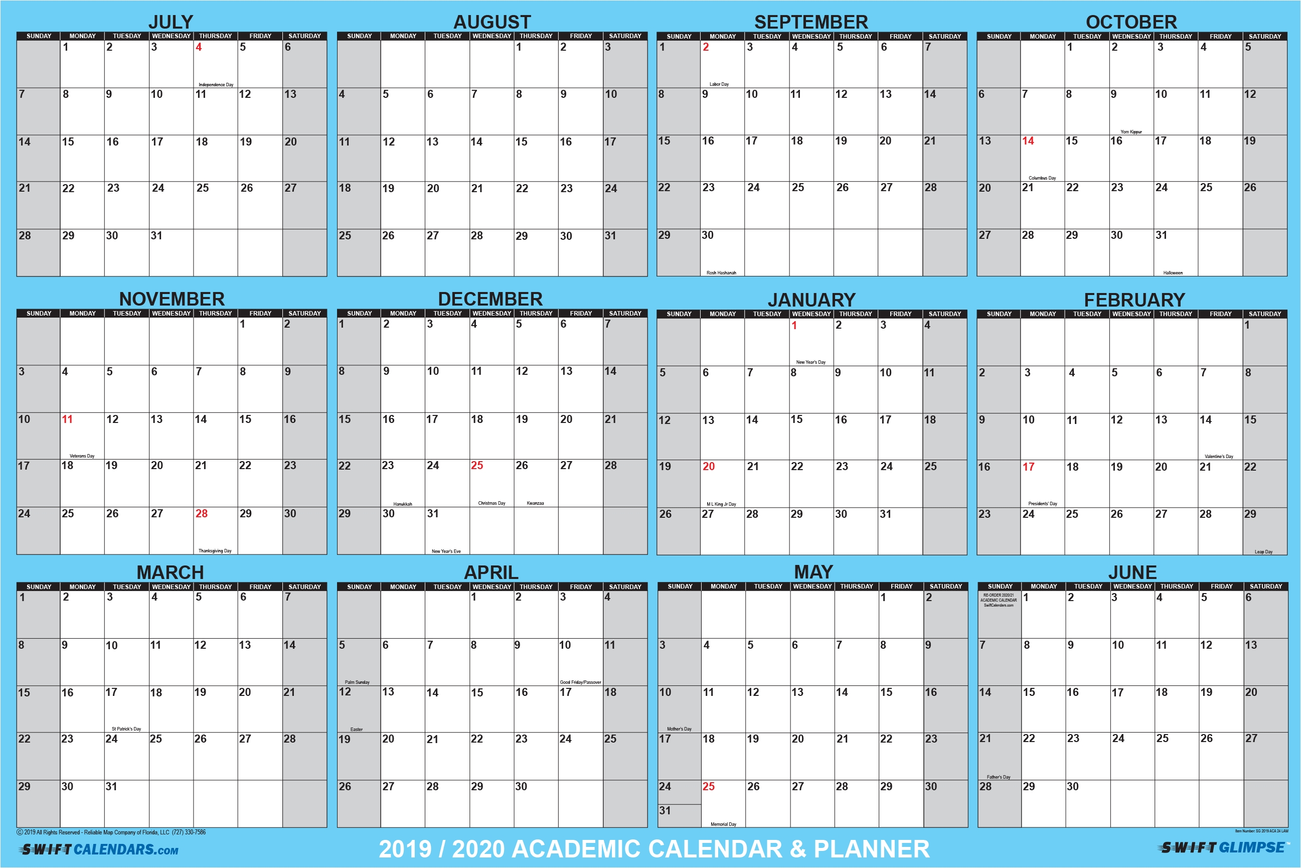 2019/2020 Swiftglimpse Yearly Academic Dry Erase Wall Calendar throughout 2020 Year Calendar With Space To Write