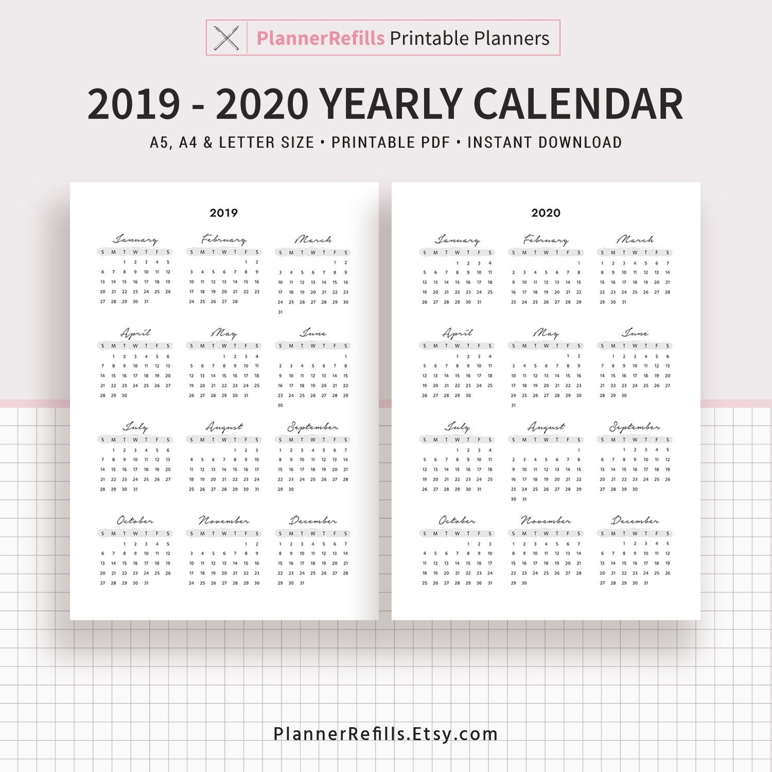 2019-2020 Yearly Calendar, Year At A Glance, Yearly Agenda, A4, Letter,  Filofax A5, Printable Planner Inserts, Planner Refill, Planner Pages for 8.5 X 11 Printable 2020 Calendar At A Glance