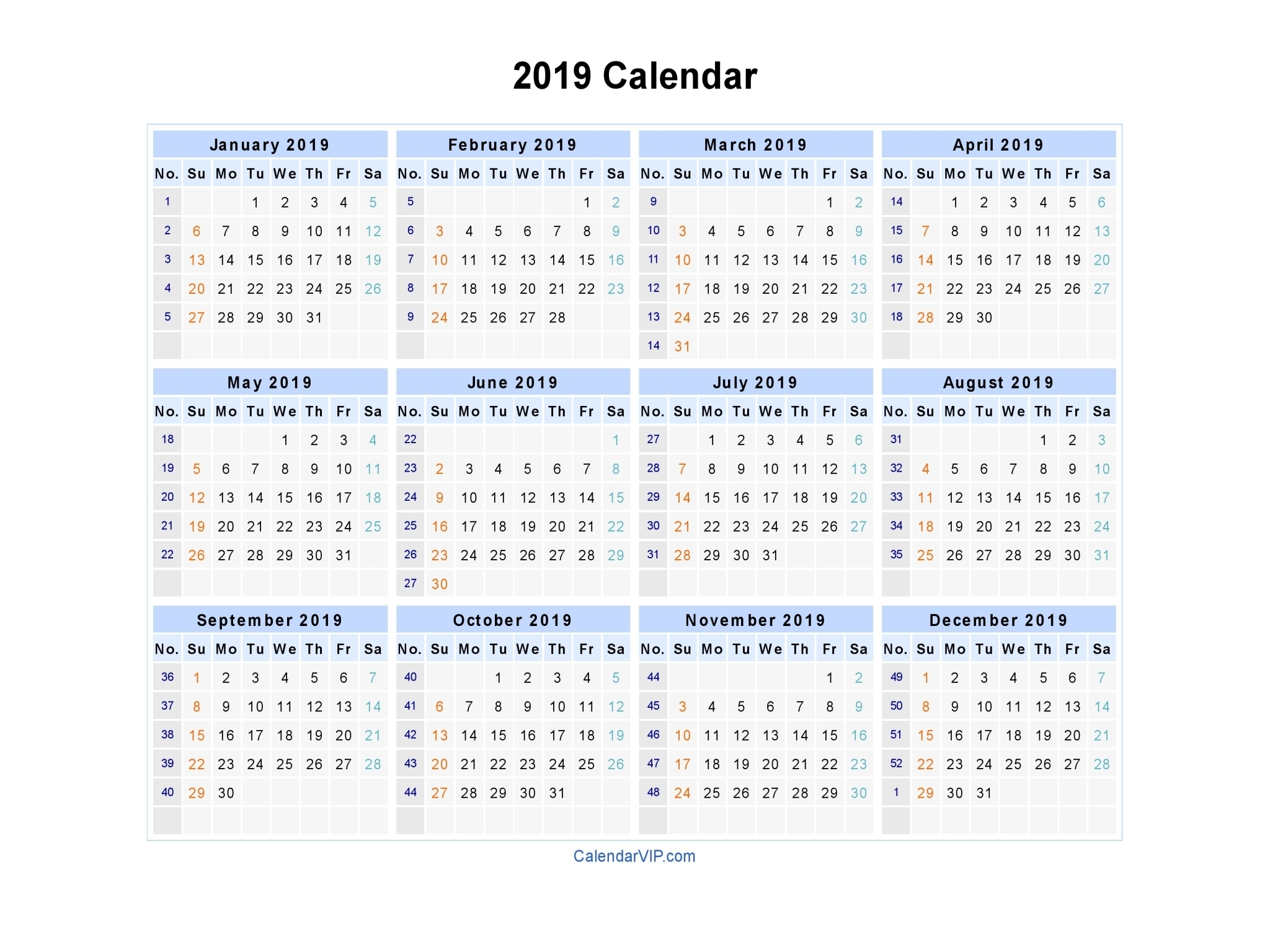 2019 Calendar - Blank Printable Calendar Template In Pdf throughout 2019 - 2023 Calendar Printable