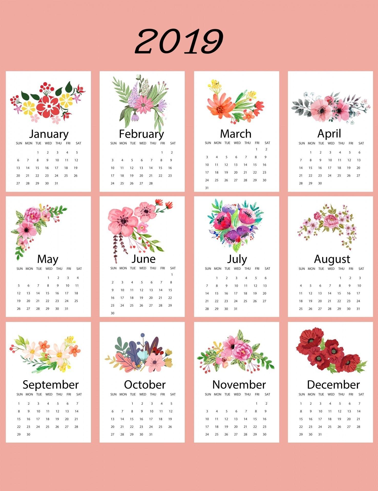 2019 Calendar Floral Template | Calendar 2019 Printable regarding Bc Free 2020 At A Glance Calendar