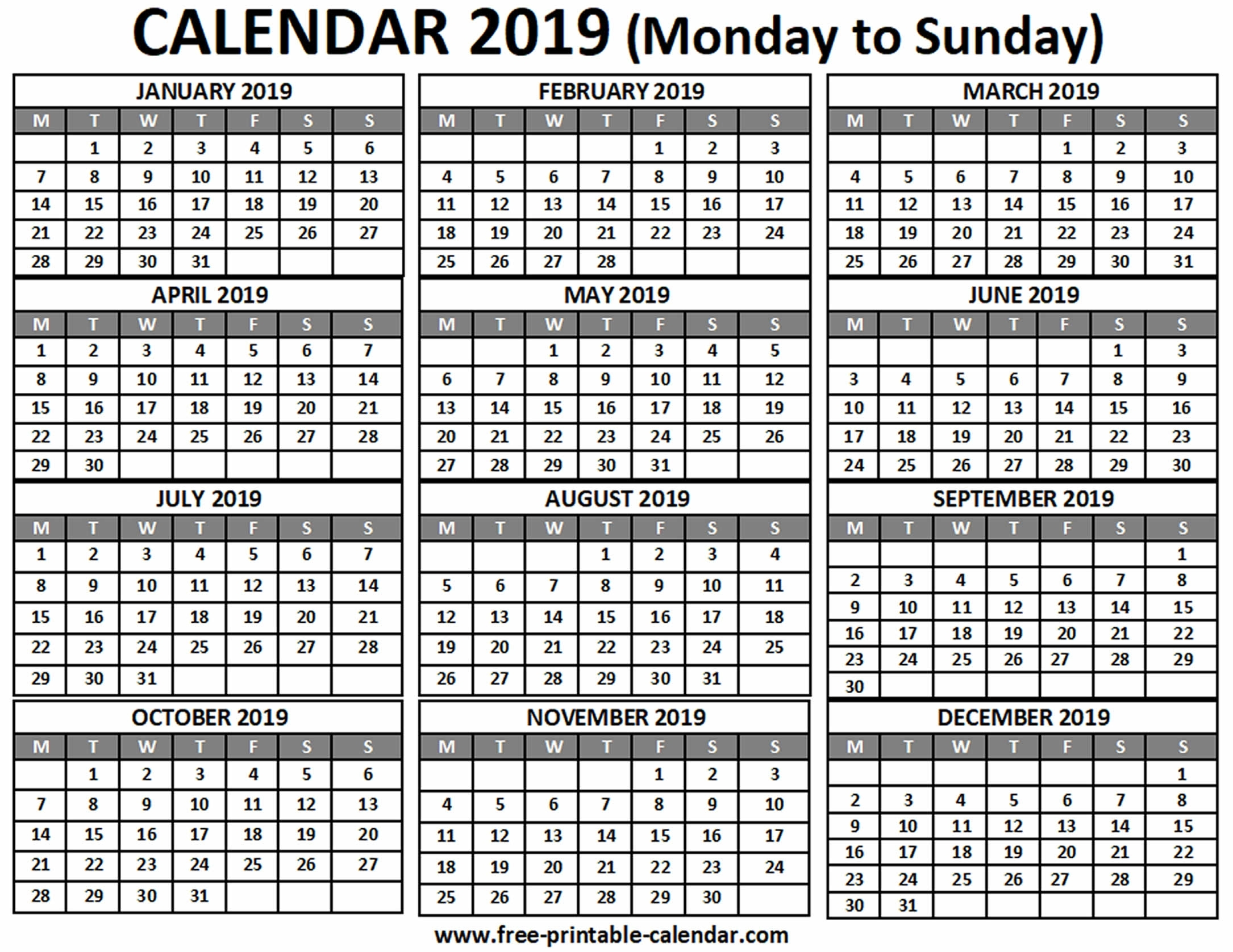 2019 Calendar - Free-Printable-Calendar regarding Calendar 2019 Monday To Sunday