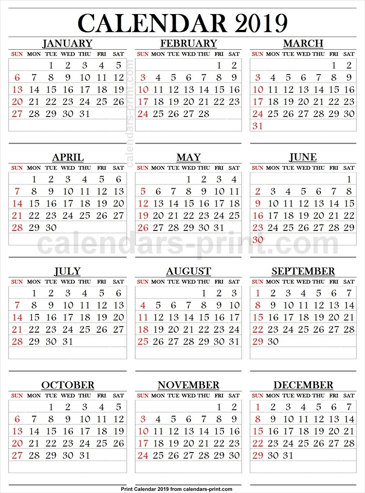 2019 Calendar Large Numbers | 2019 Calendar, Calendar 2019 with Large Printable Numbers 1 31