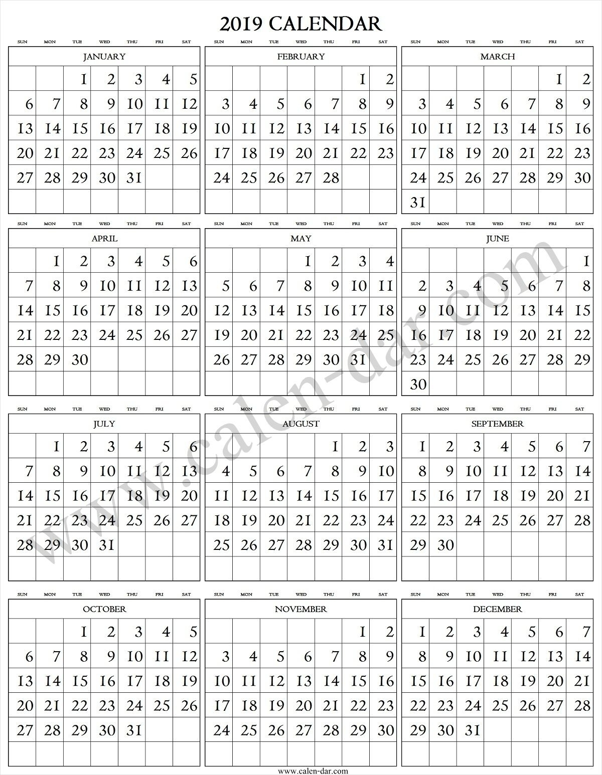 2019 Calendar Large Numbers | 2019 Calendar, Printable for Large Printable Numbers 1 31