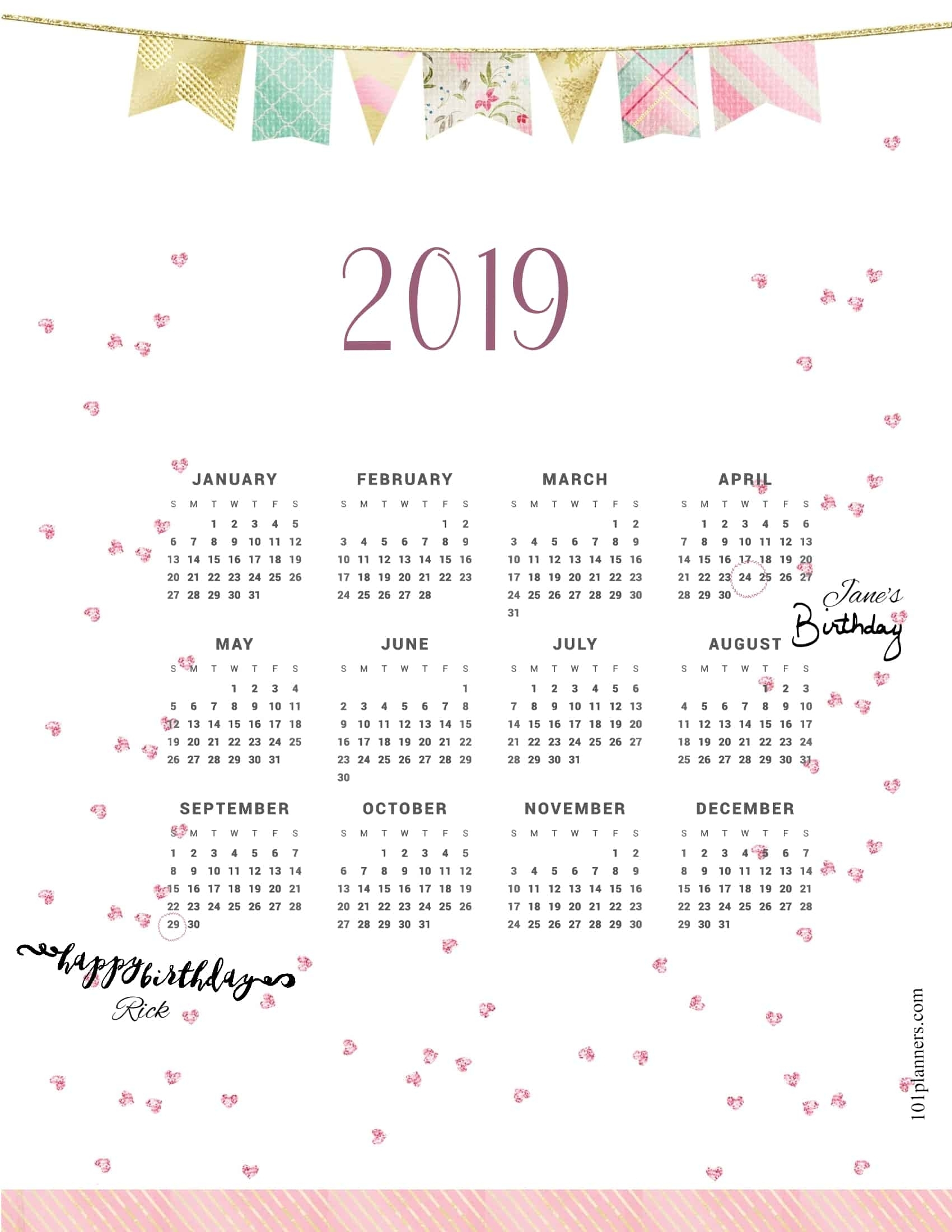 2019 Calendar pertaining to 2020 Free Year At A Glance Printable