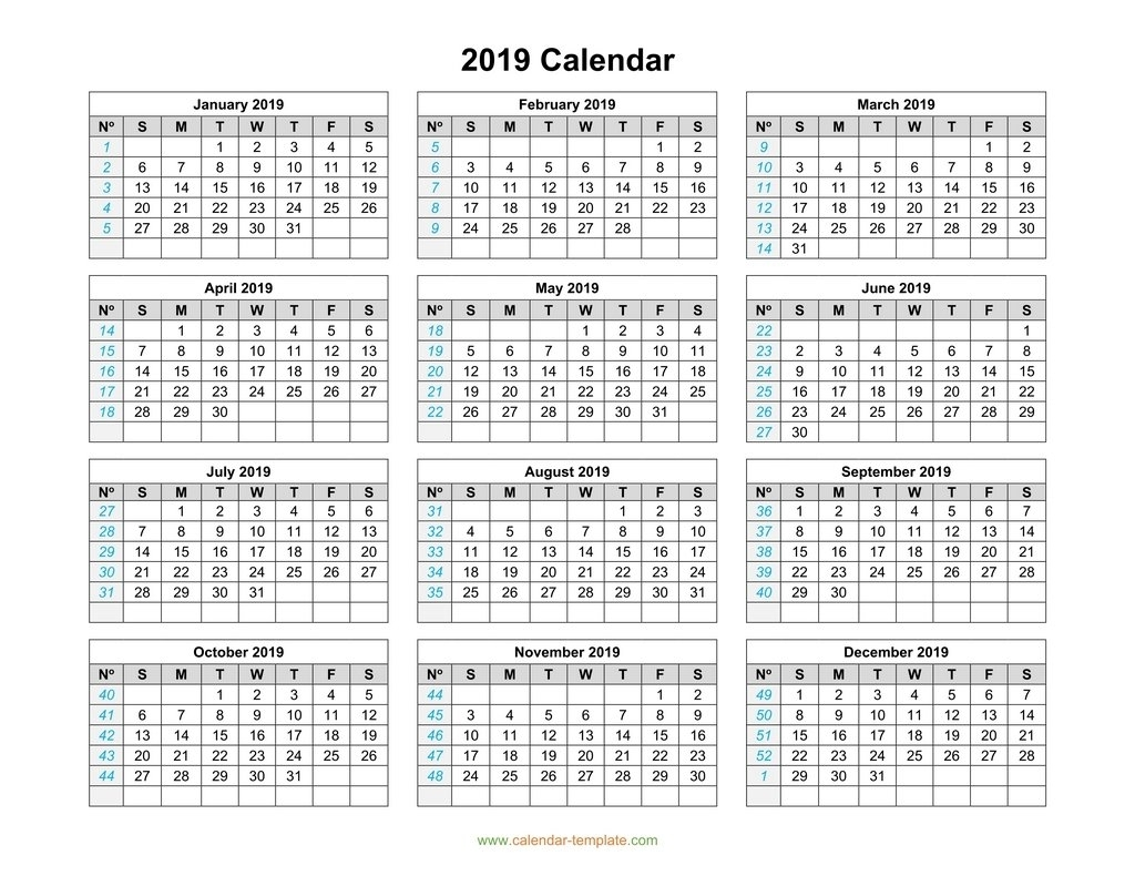2019 Calendar Template On One Page for Calendar 2019 Monday To Sunday