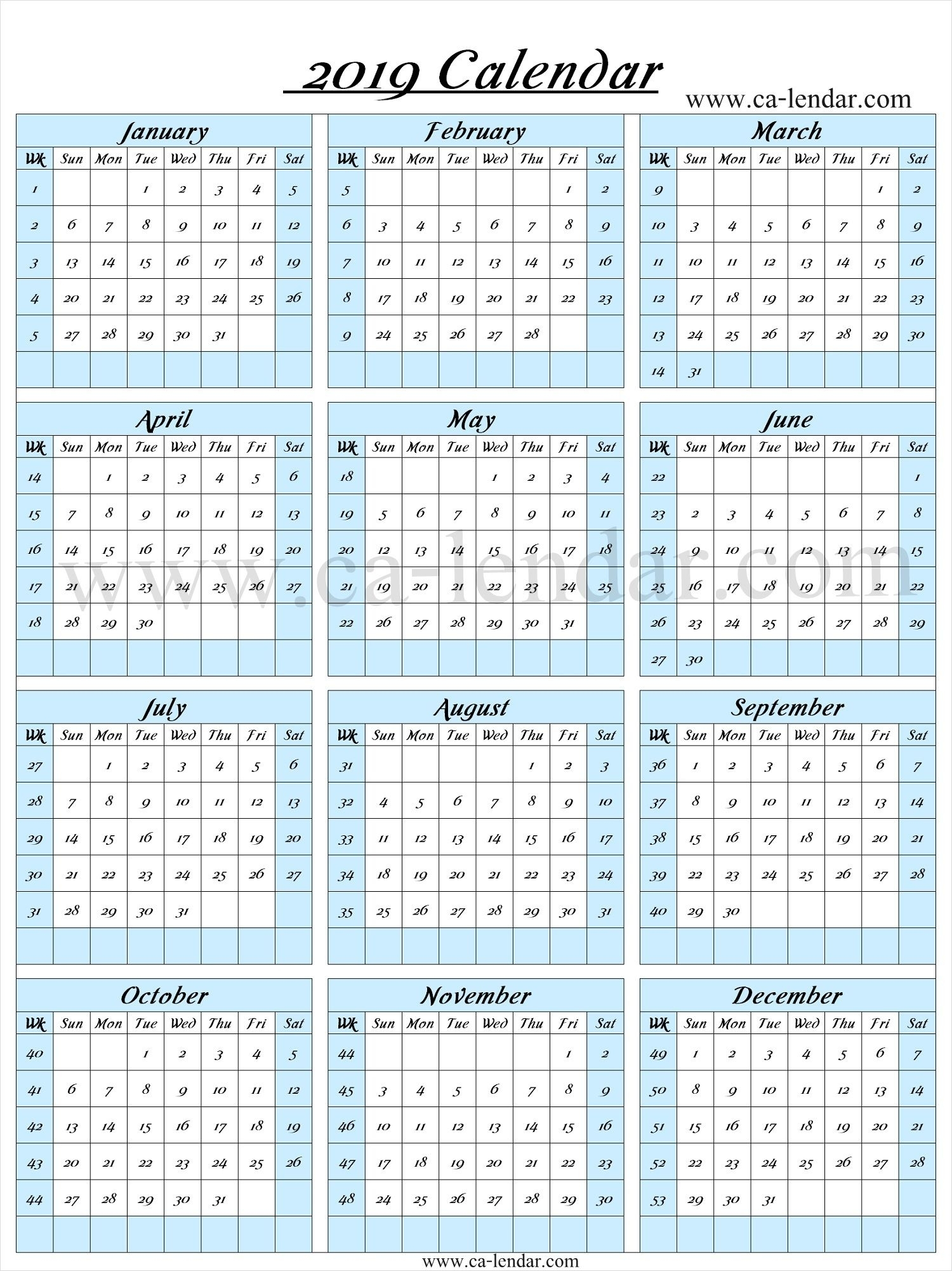 2019 Calendar With Week Numbers | Calendar With Week Numbers with regard to Calendar With Week Numbers 2019/2020