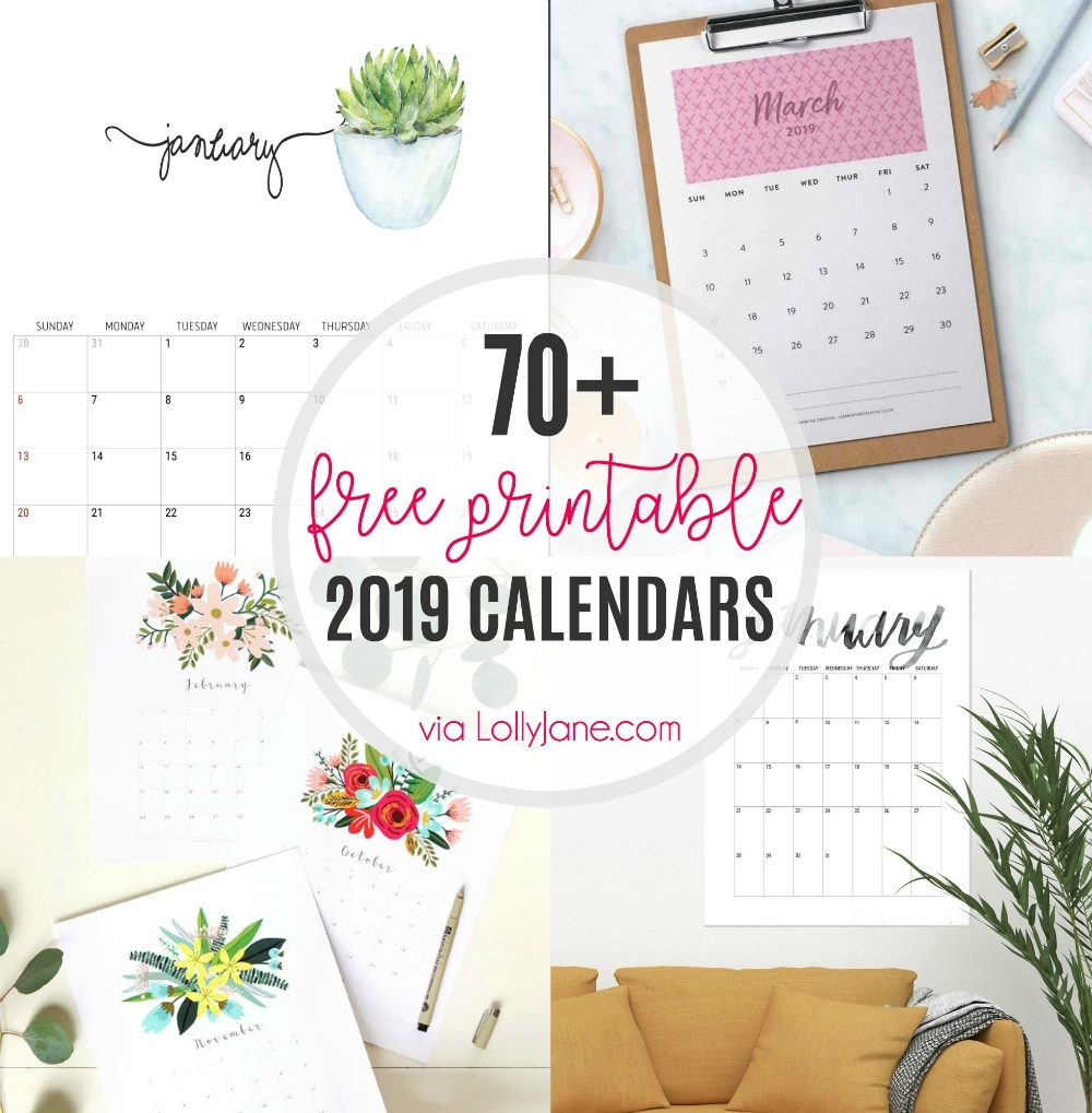 2019 Free Printable Calendars - Lolly Jane with Free Foldable Pocket Size Calendar Template