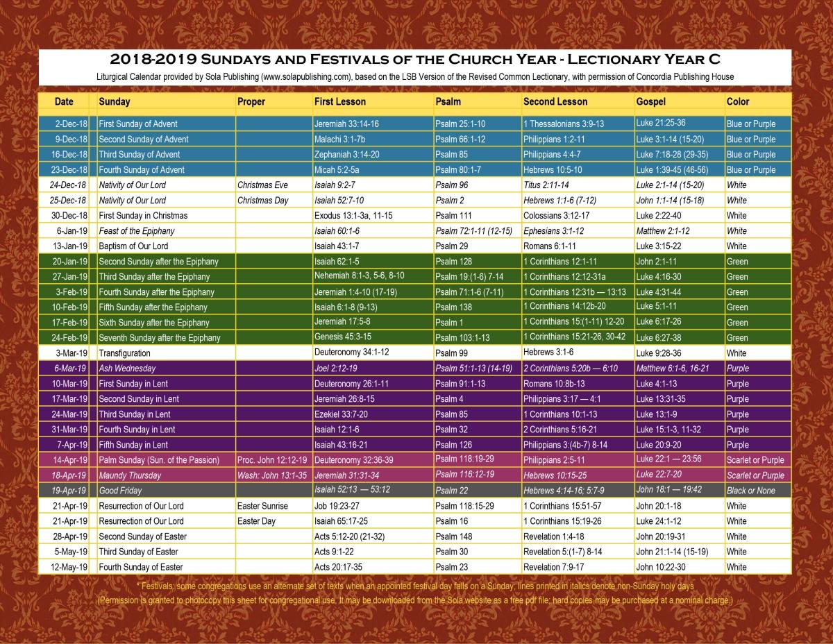 2019 Liturgical Calendar (Year C) K-2019 | Sola Publishing for Catholic Lectionary 2020 Printable Calendar