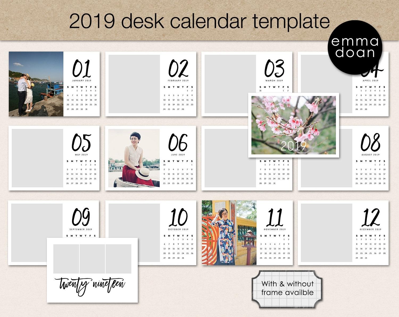 2019 Pocket Calendar Template, 5X7 Photo Calendar Printable, Personalized  Calendar Template, Printable Desk Calendar, Calendar Making Kit intended for Deisn Your Own Pocket Calender Choose Color