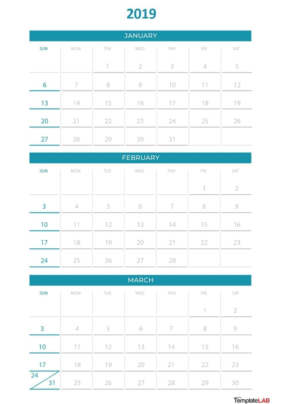 2019 Printable Calendars [Monthly, With Holidays, Yearly] ᐅ pertaining to Deisn Your Own Pocket Calender Choose Color