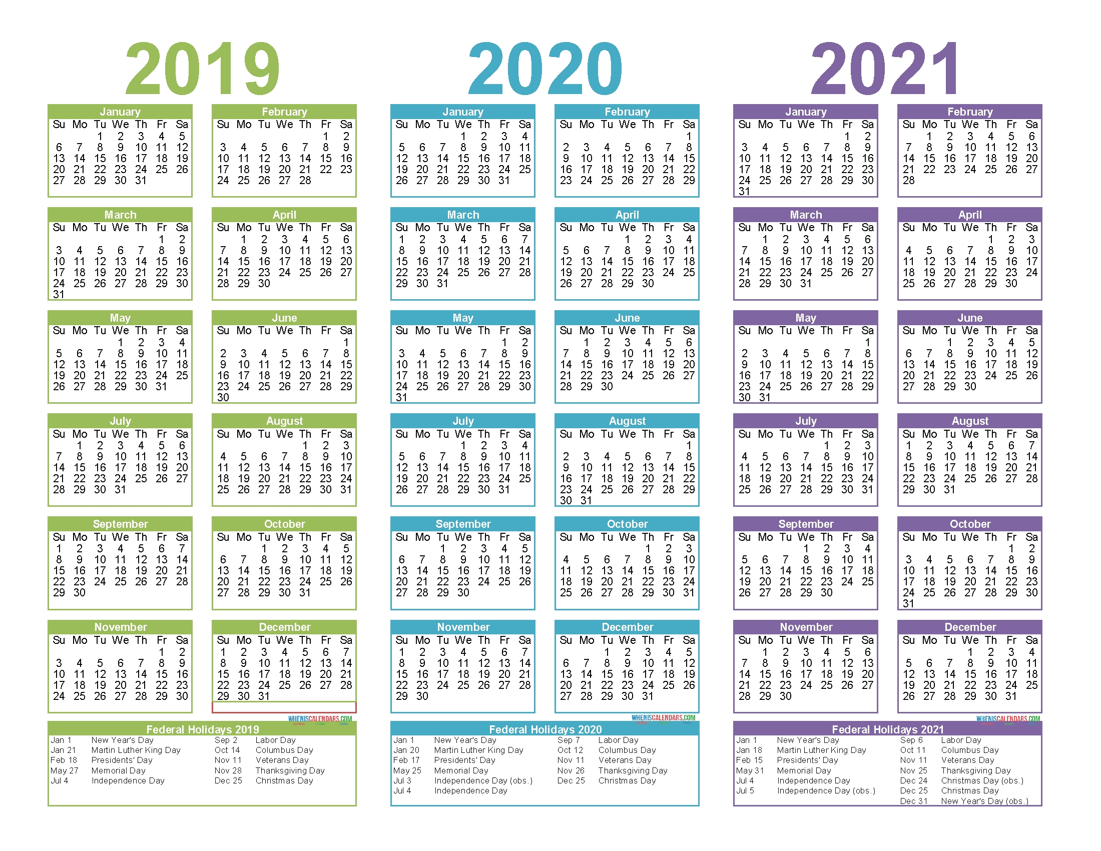 2019 To 2021 3 Year Calendar Printable Free Pdf, Word, Image with Free Printable Calendar For 2019 2020 2021