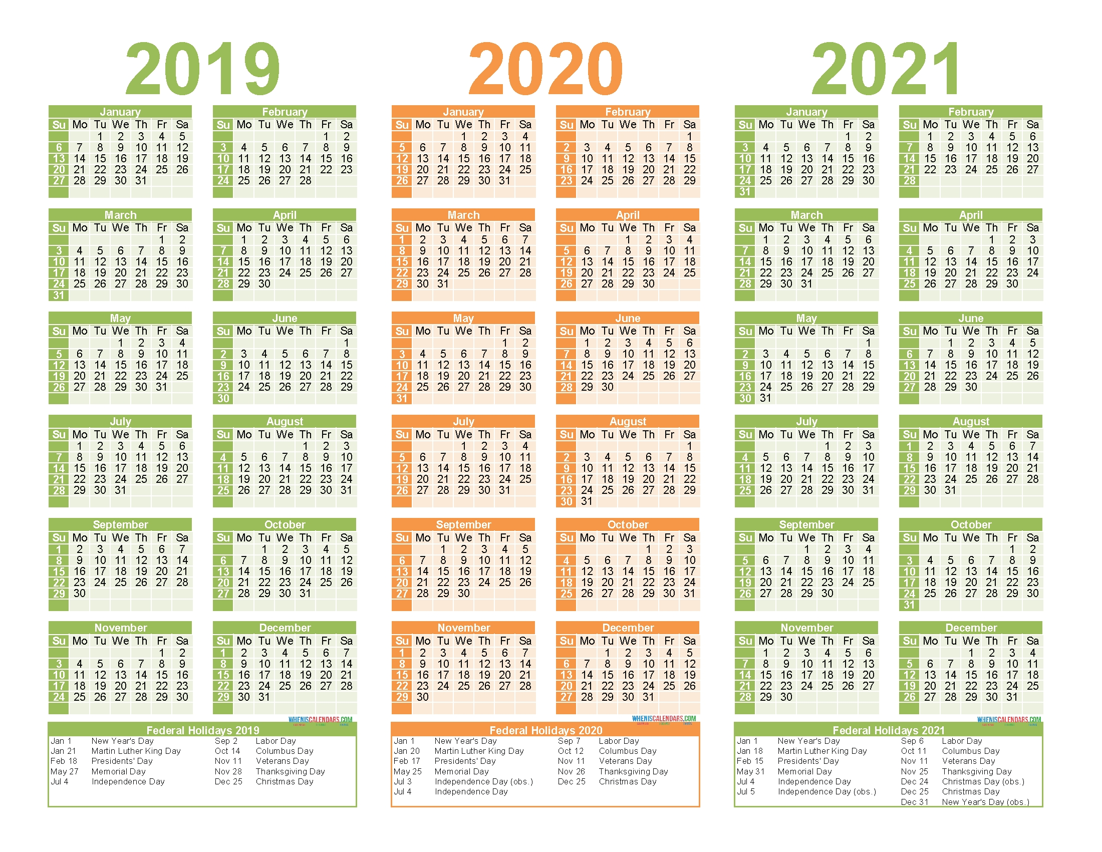 2019 To 2021 Calendar Printable Free Pdf, Word, Image | Free with 2019 To 2021 Printable Calendar