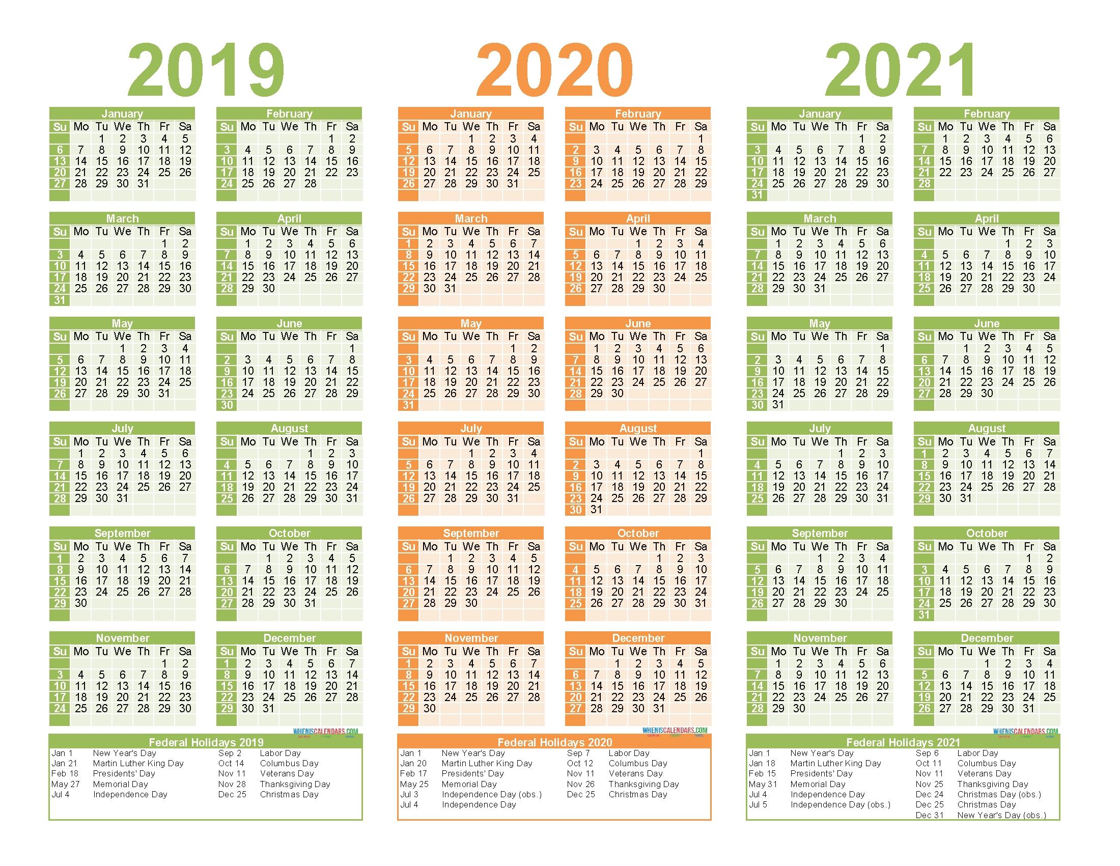 2019 To 2021 Calendar Printable Free Pdf, Word, Image | Free within Three-Year Calendar 2019 2020 2021