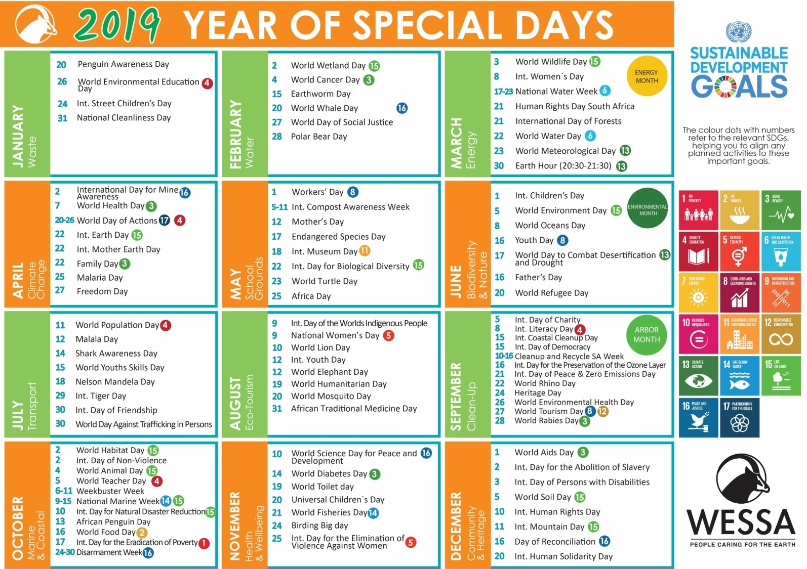 2019 Wessa Special Day Calendar – Wessa throughout Special Days Calendat 2019 For Schools