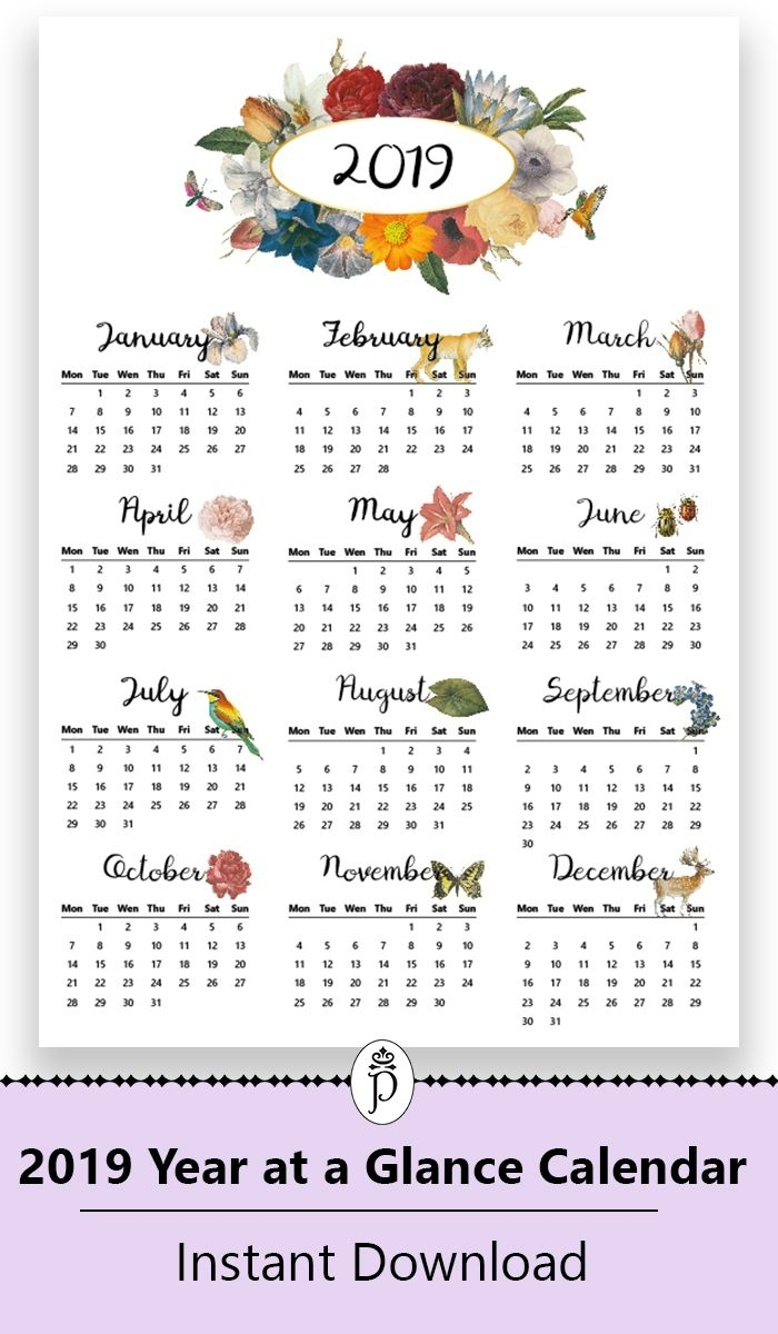 2019 Yearly Printable Wall Calendar, Botanical, Floral inside At A Glance Downloadable 2020 Calendar