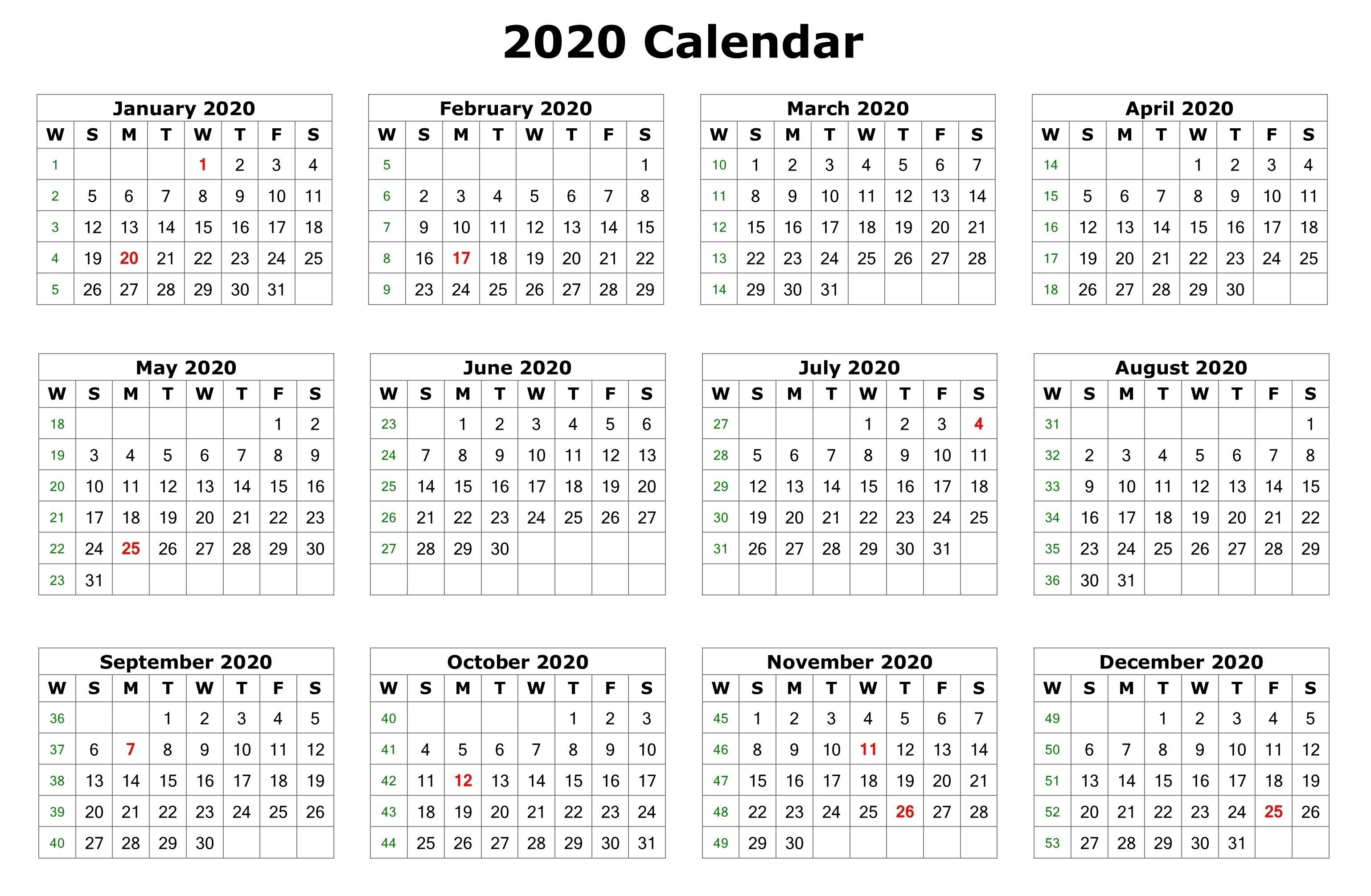2020 12 Months Calendar Printable | 12 Month Calendar, 2020 inside 2020 12 Month Monday To Sunday Calendar Template
