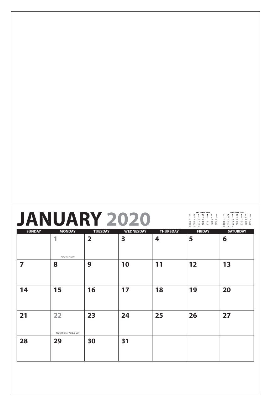 "2020 13 Month Custom Photo Wall Calendar, Stapled | 11"" X 17 throughout Promotional One Page Year Calendars 8.5 X 11"