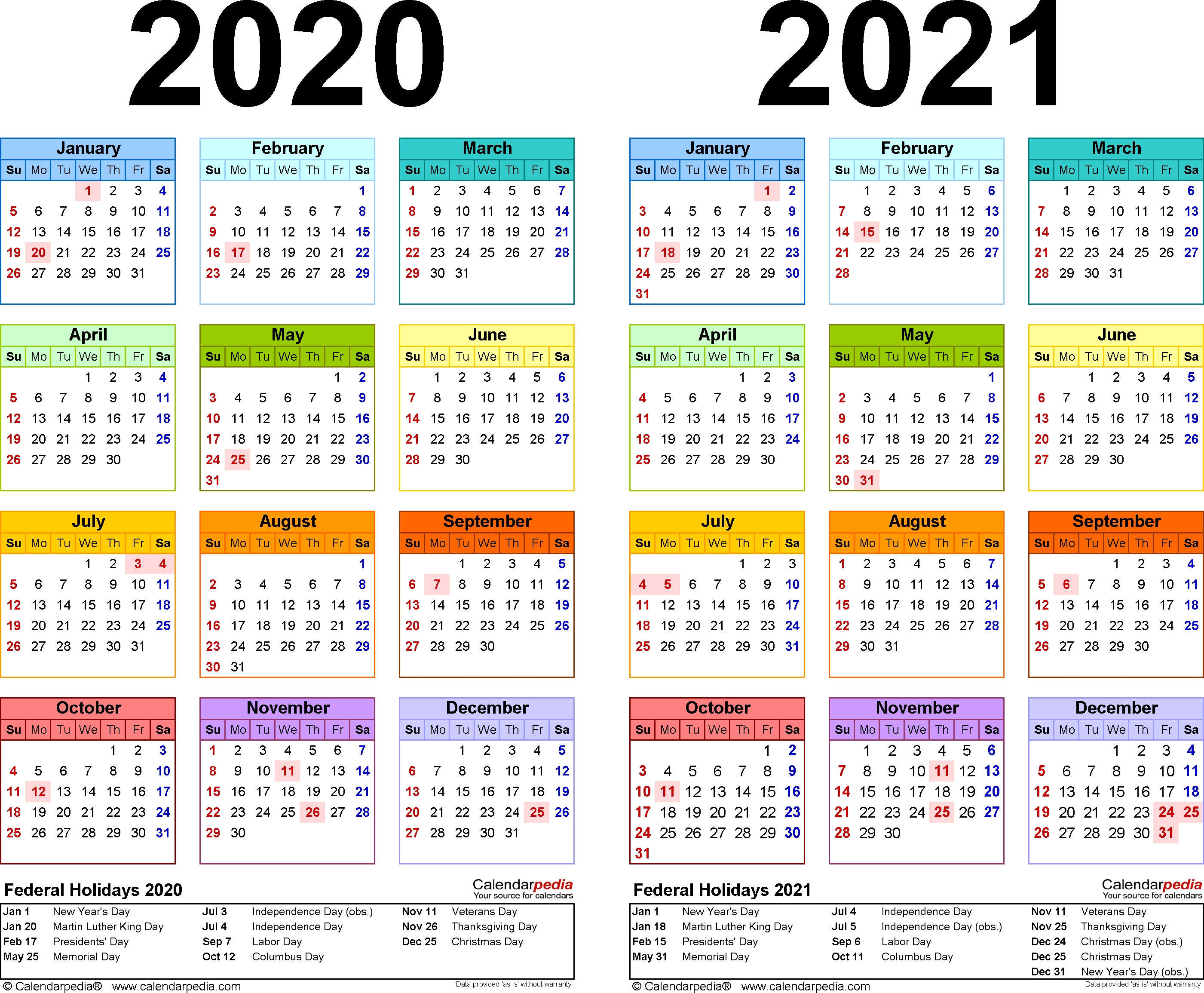 2020-2021 Two Year Calendar - Free Printable Microsoft Word intended for Printable Calendar Or 2020 And 2021 Monday To Sunday
