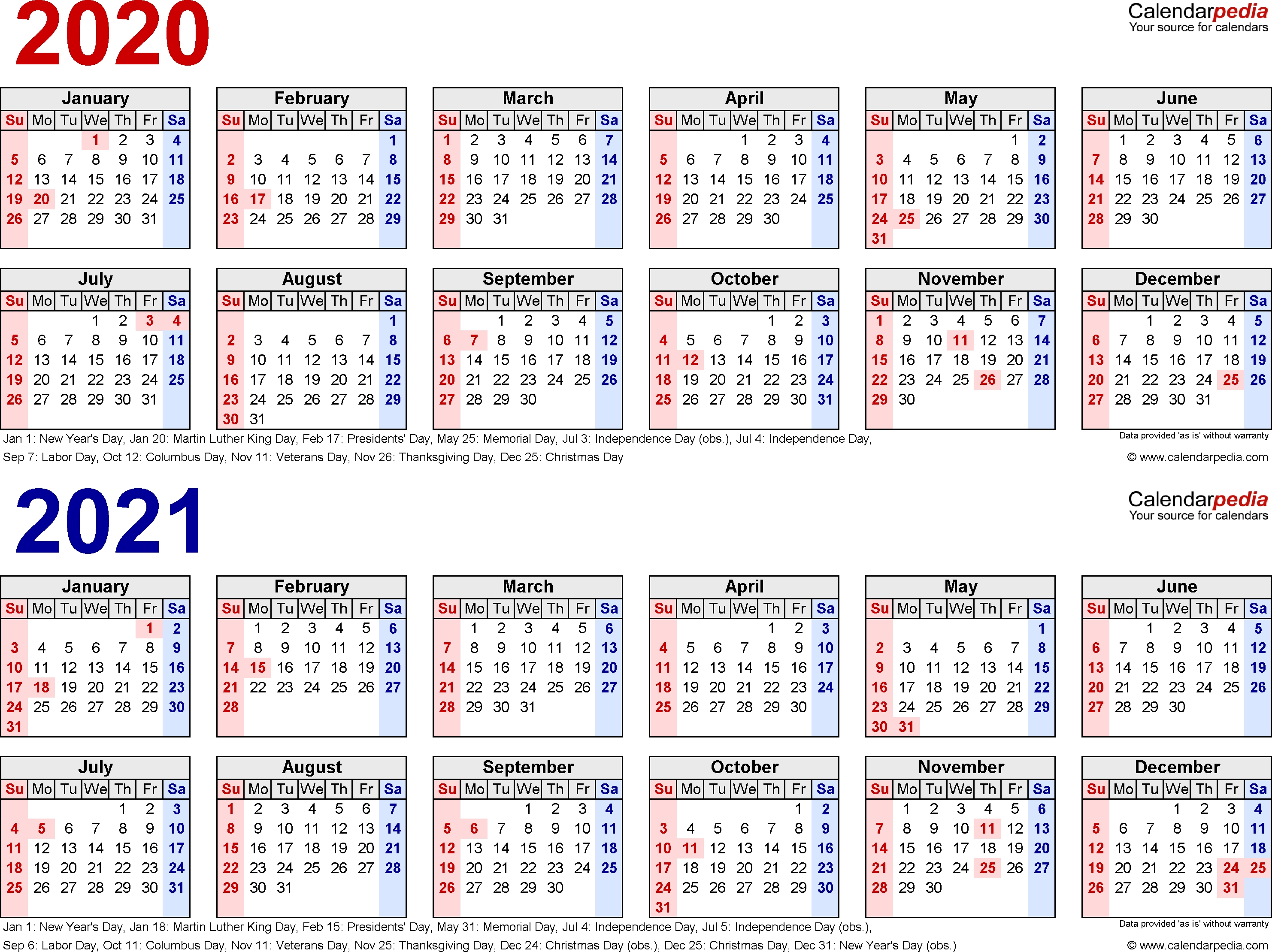 2020-2021 Two Year Calendar - Free Printable Microsoft Word within Printable Calendar Or 2020 And 2021 Monday To Sunday