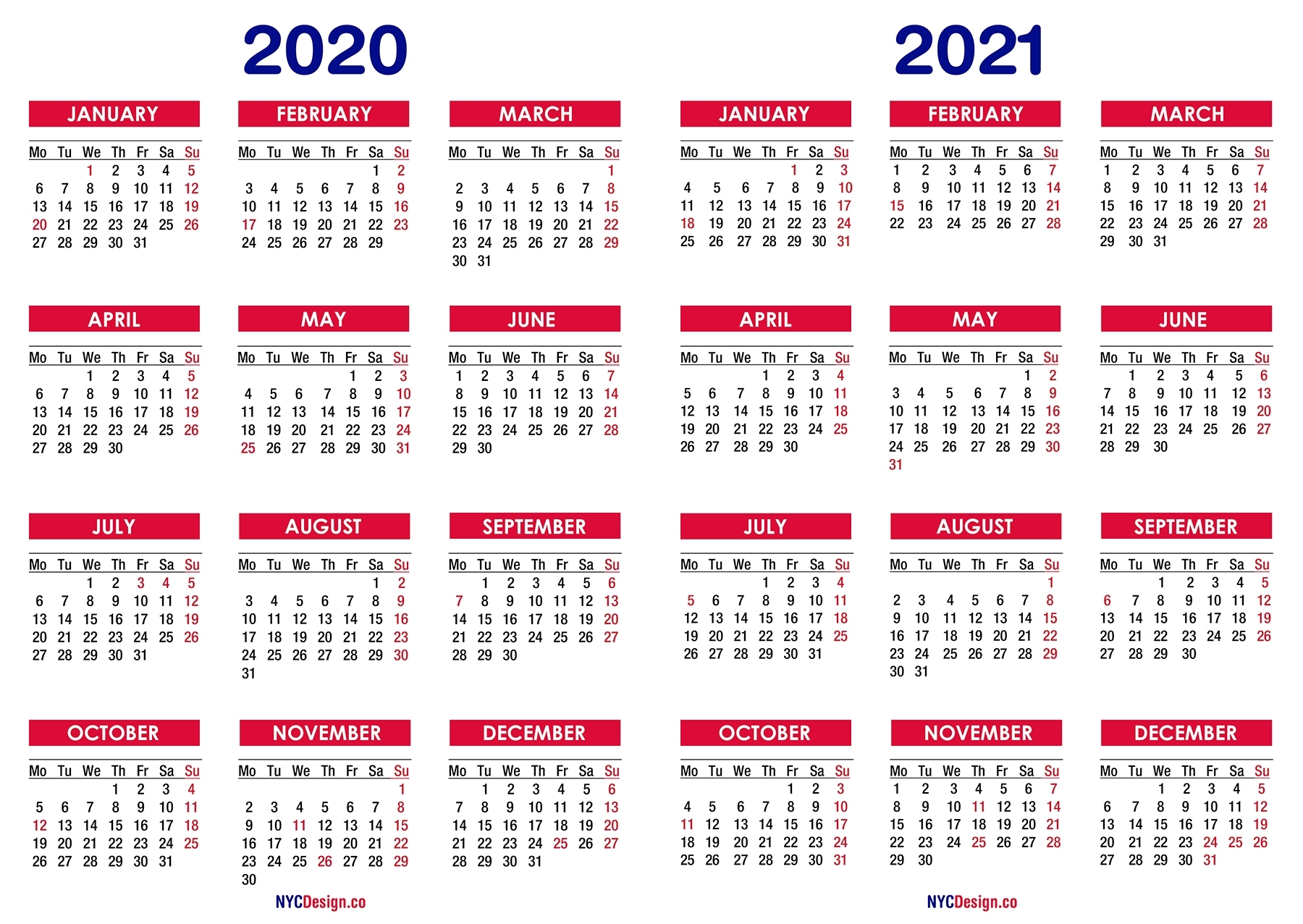 2020 – 2021 Two Year Calendar With Holidays, Printable Free for Printable Calendar Or 2020 And 2021 Monday To Sunday