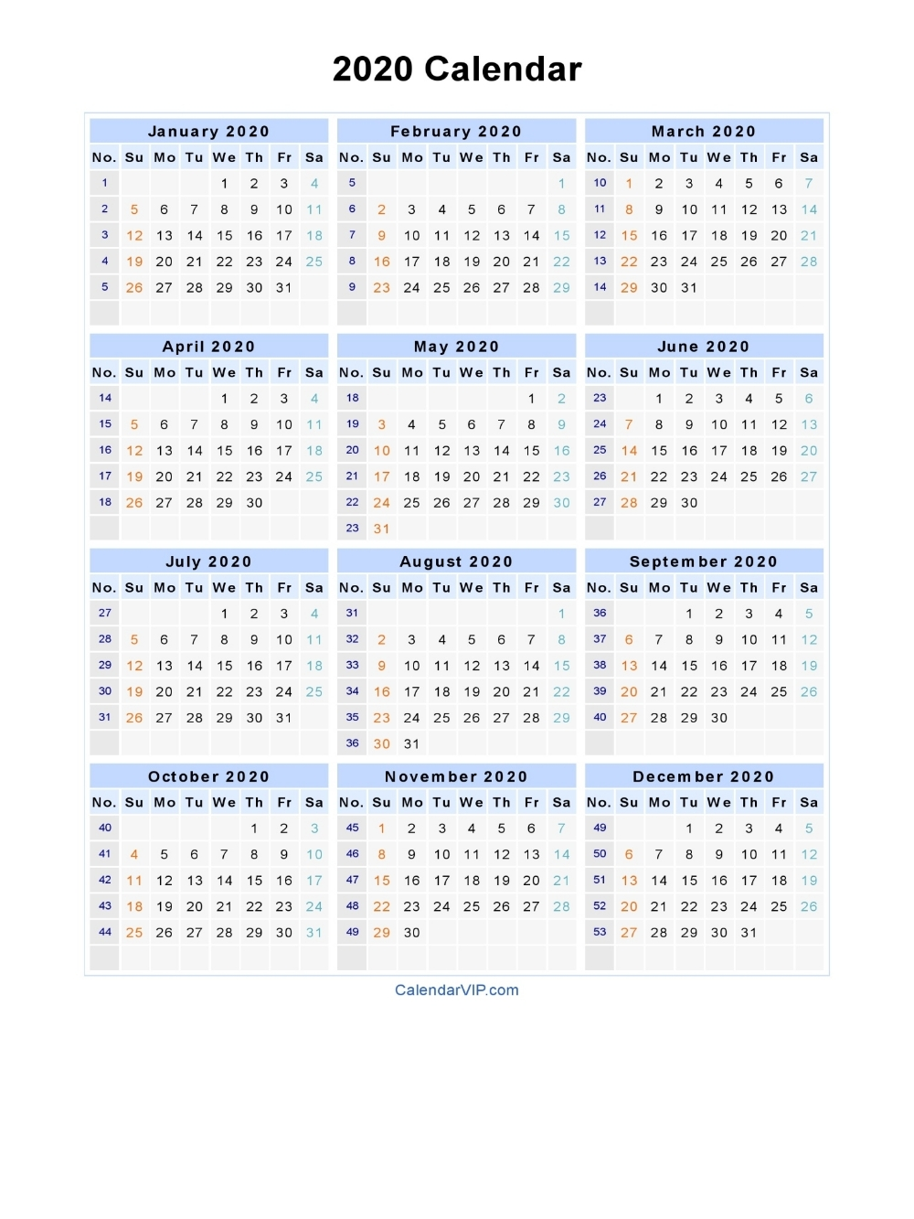 2020 Calendar - Blank Printable Calendar Template In Pdf intended for Yearly Monday To Sunday Calendar 2020 With Week Numbers