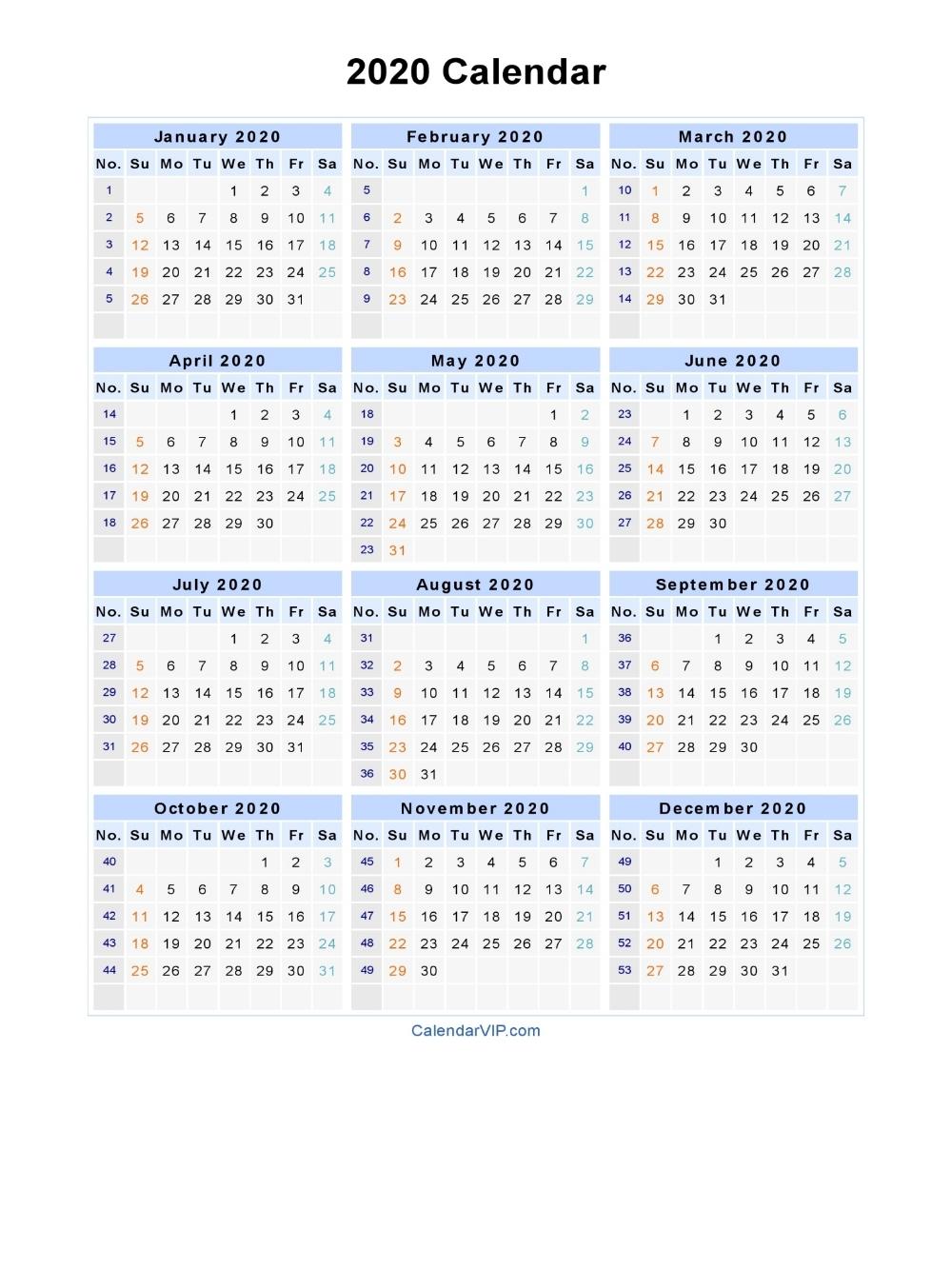 2020 Calendar - Blank Printable Calendar Template In Pdf throughout 2020 Calendar With Week Numbers Printable