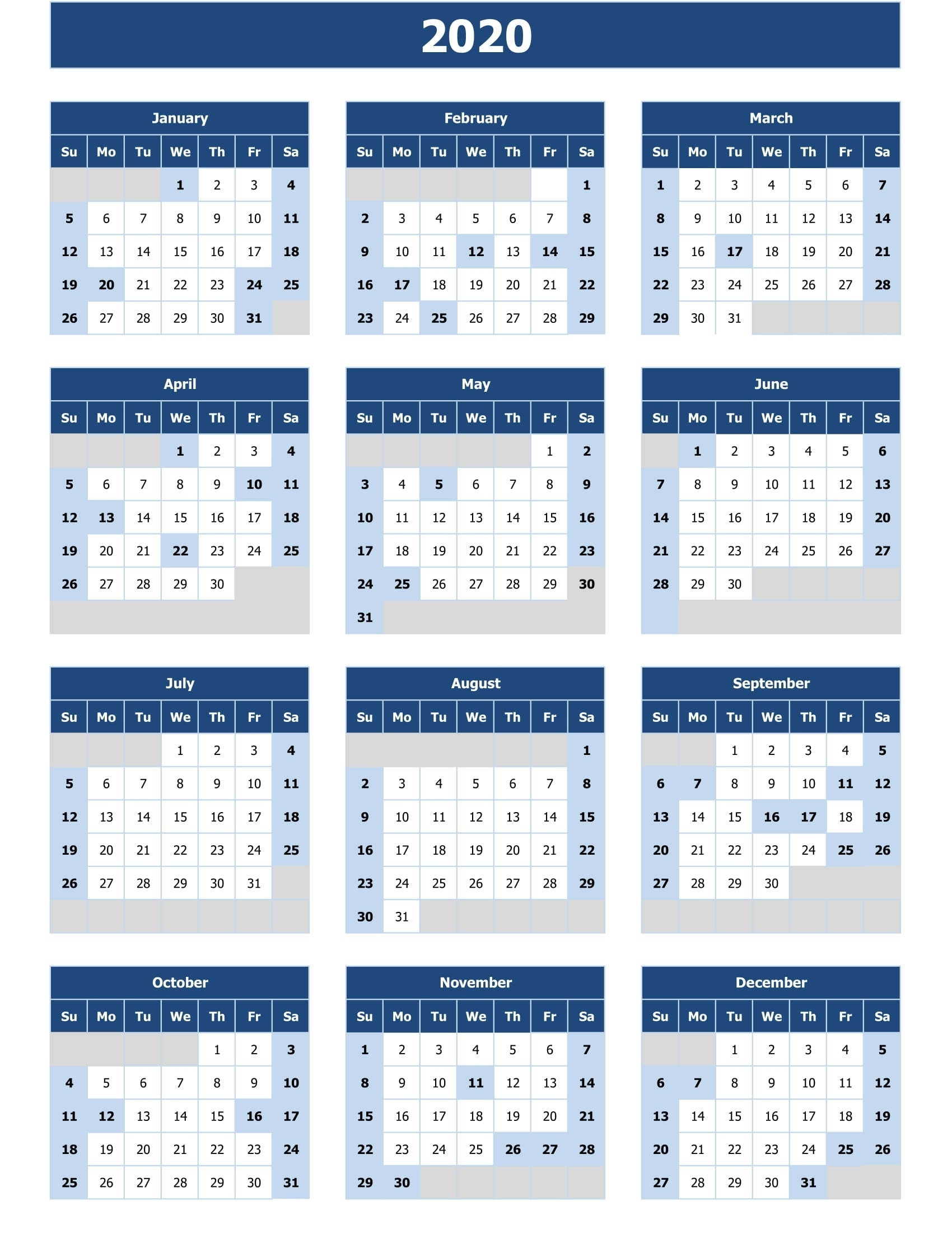 2020 Calendar Excel For Your Good Day For Desk | Calendar inside 2020 Calendar With All Function