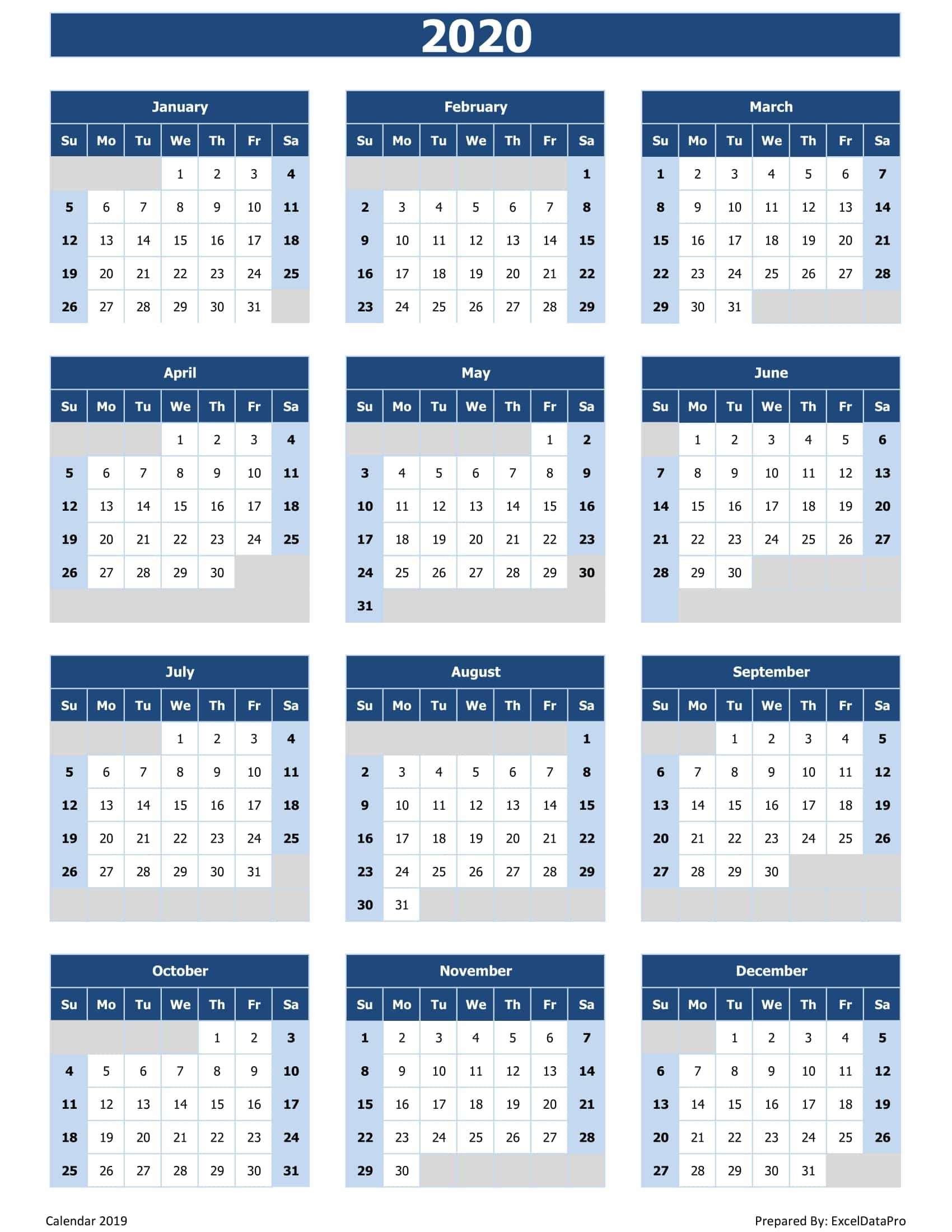 2020 Calendar Excel Templates, Printable Pdfs & Images with 2020 Fiscal Calendar To Print