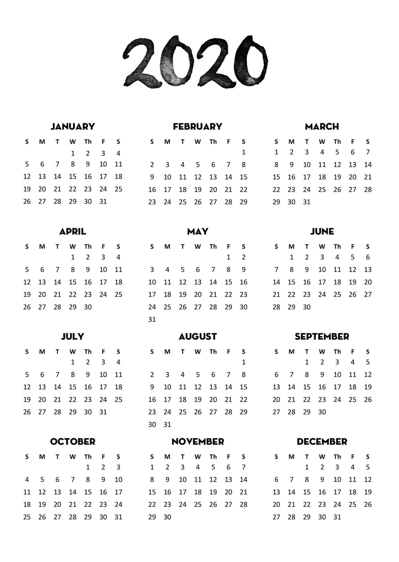 2020 Calendar Full Page - Colona.rsd7 in Printable 2020 Calender At A Glance