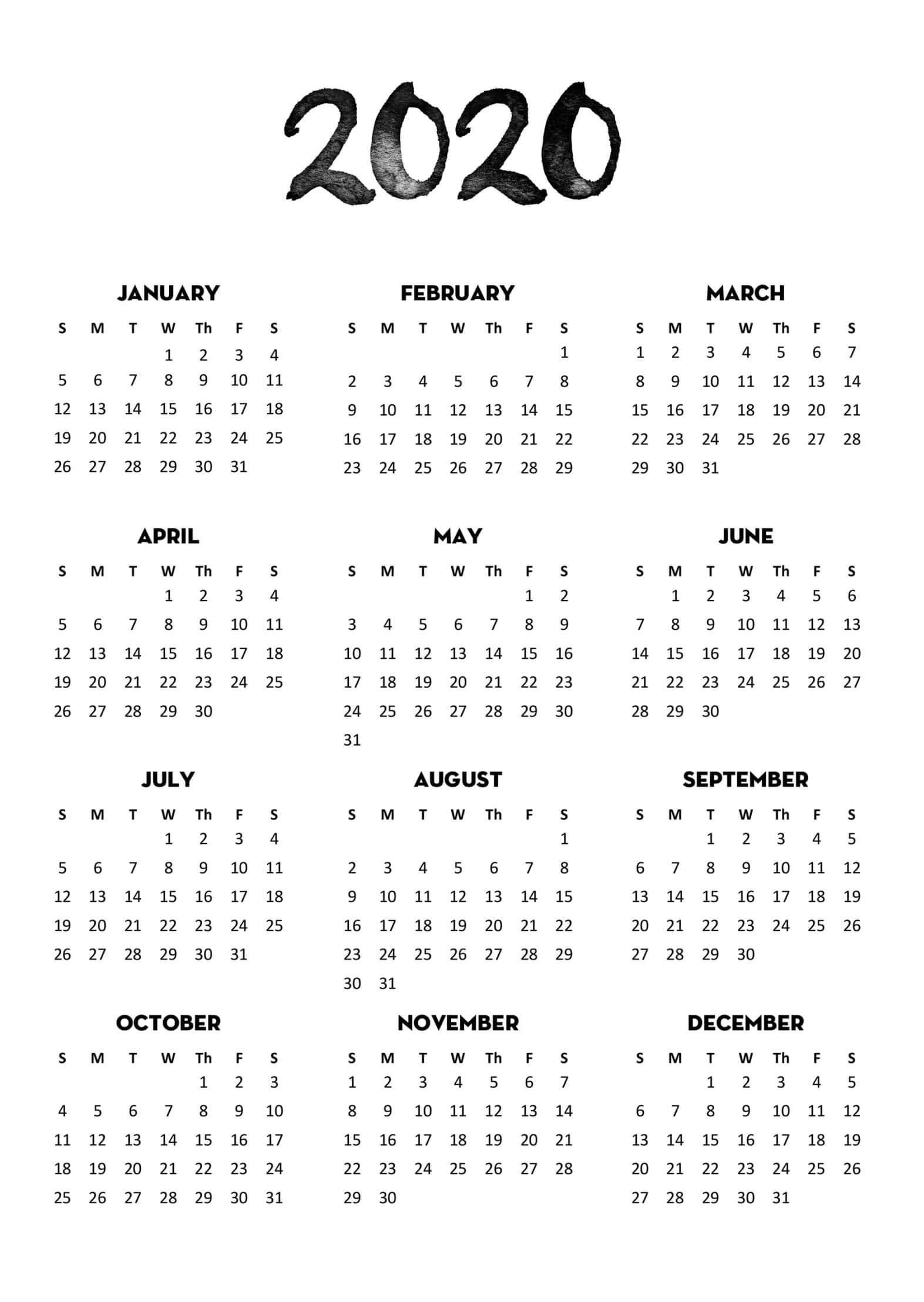 2020 Calendar Full Page - Colona.rsd7 within Year Ata Glance 2020 Calendar