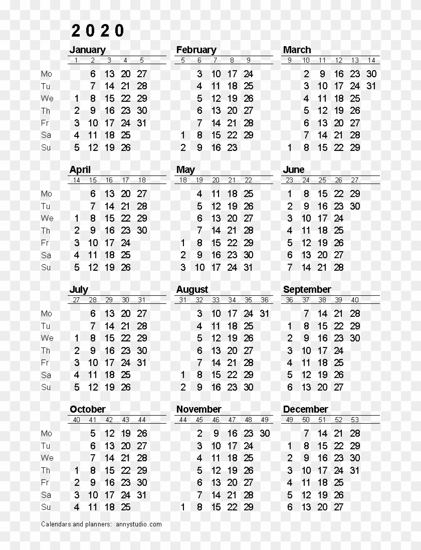 2020 Calendar Png Download Image - 2020 Calendar With Week with Fiscal Calander 2020 Week Numbers
