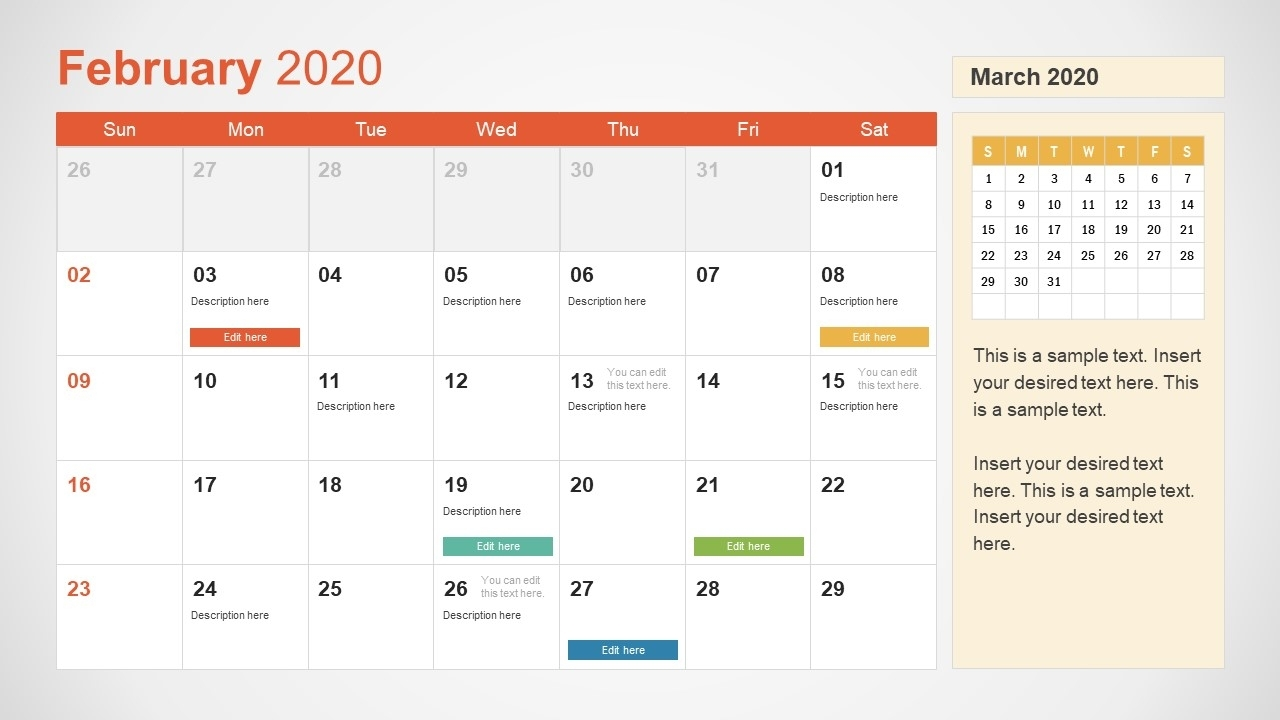2020 Calendar Powerpoint Template in Monthly Lesson Plan Calendar Template