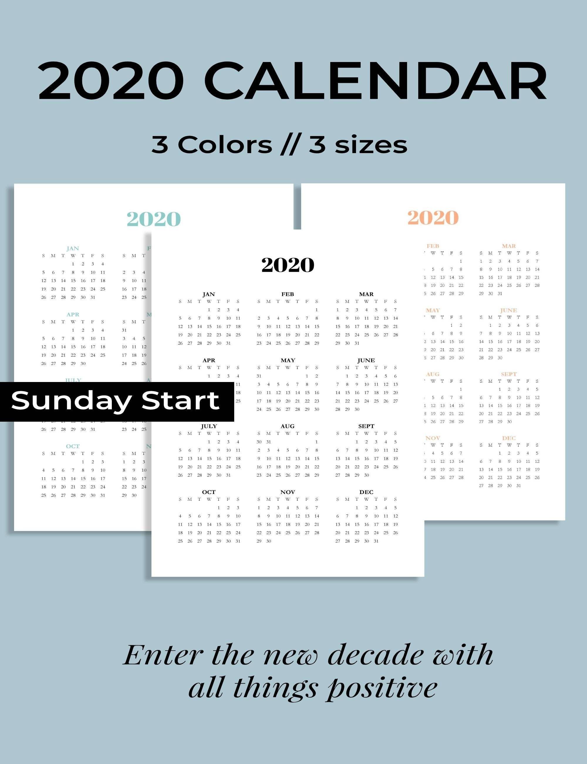 2020 Calendar Printable, Sunday Start 2020 Calendar, Year At within Bc Free 2020 At A Glance Calendar