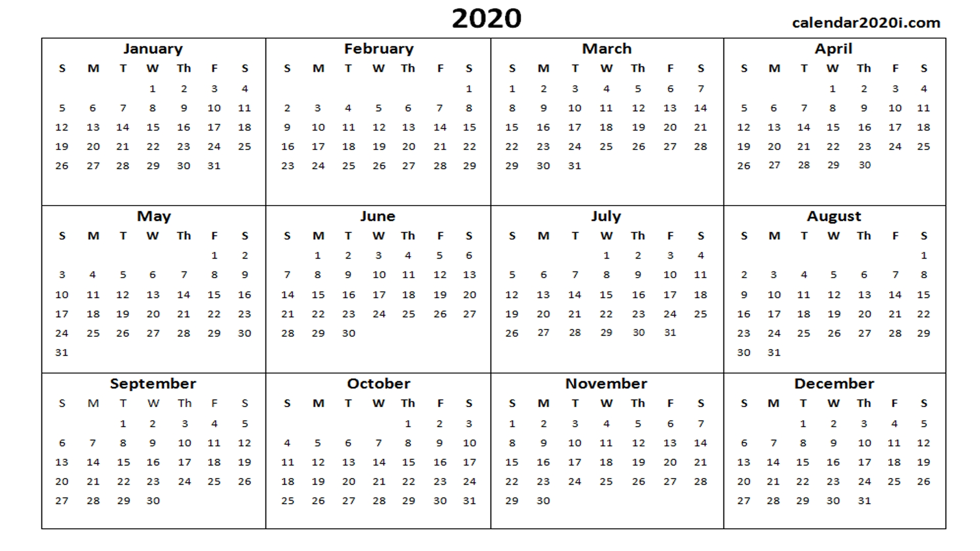 2020 Calendar Printable Template Holidays, Word, Excel, Pdf throughout Print Free Calendars 2020Without Downloading