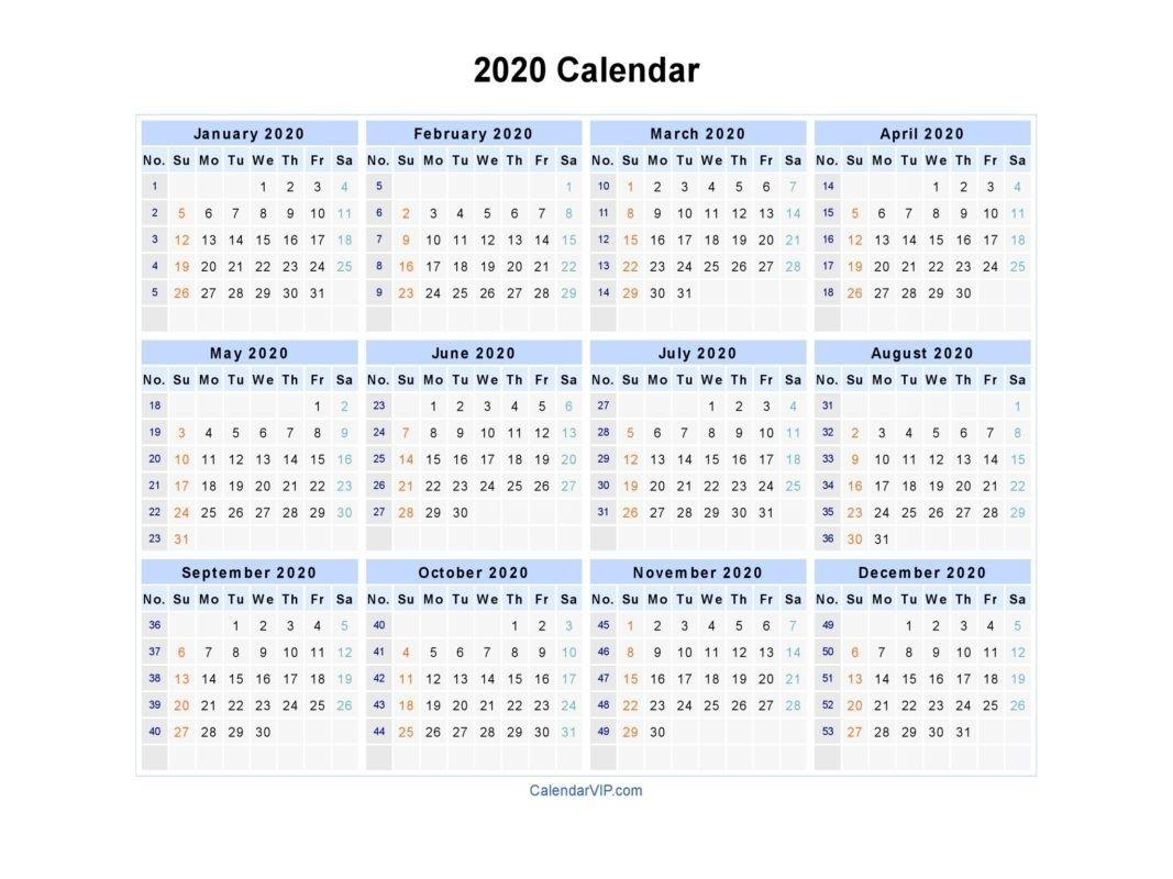 2020 Calendar Printable throughout How To Print A Pocket Calander
