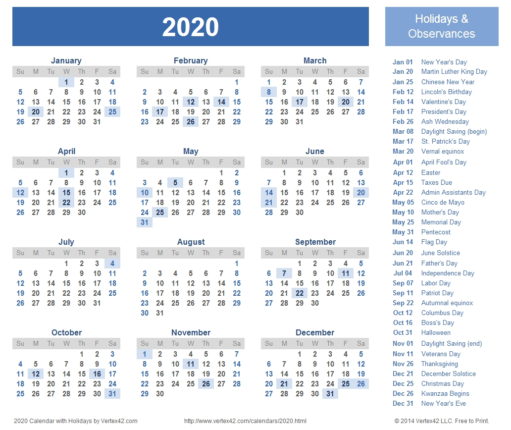 2020 Calendar Prints For Planning! | Printable Calendar pertaining to Year At A Glance Calendar 2020 With Holiday Free Printable