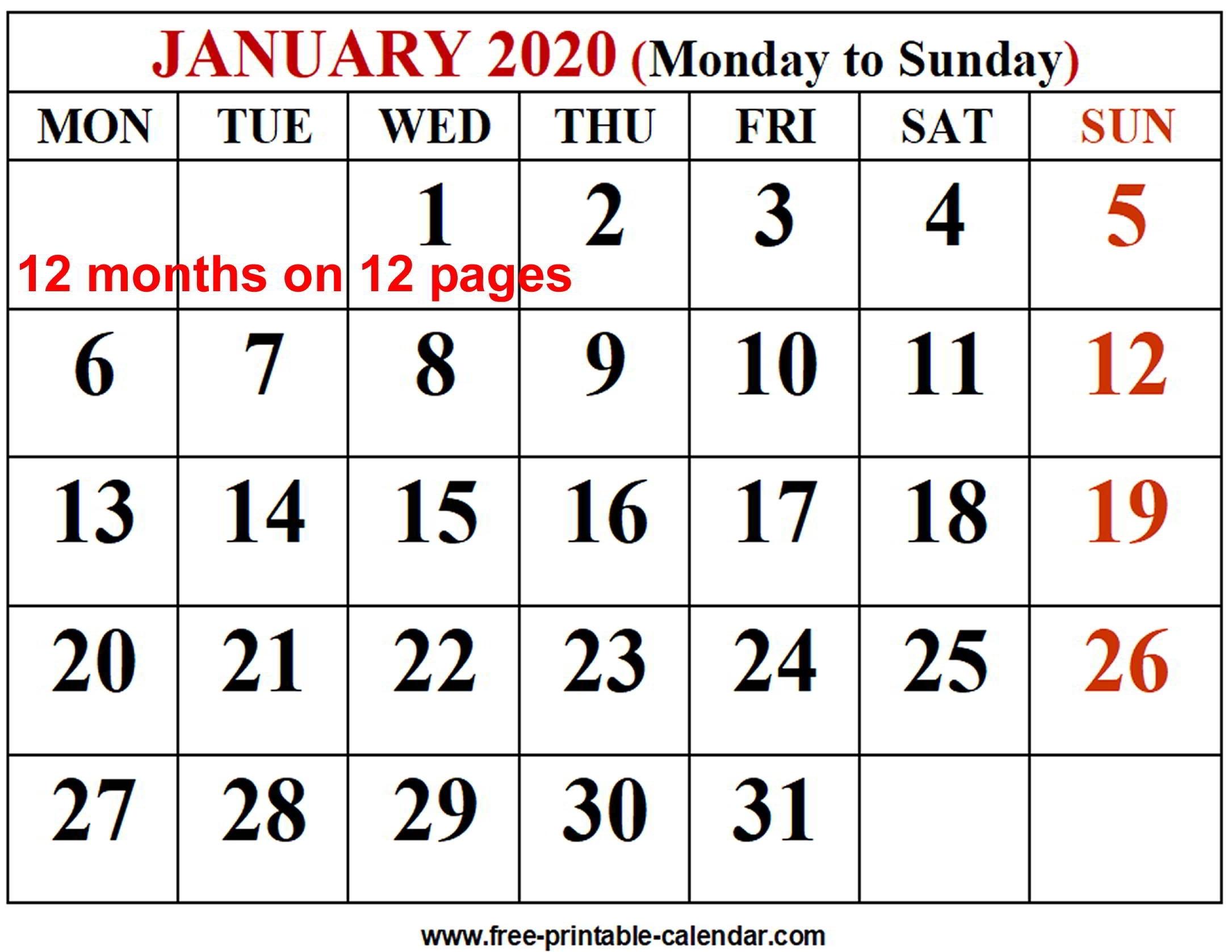 2020 Calendar Template - Free-Printable-Calendar for 2020 Calendar Printable Monday Sunday