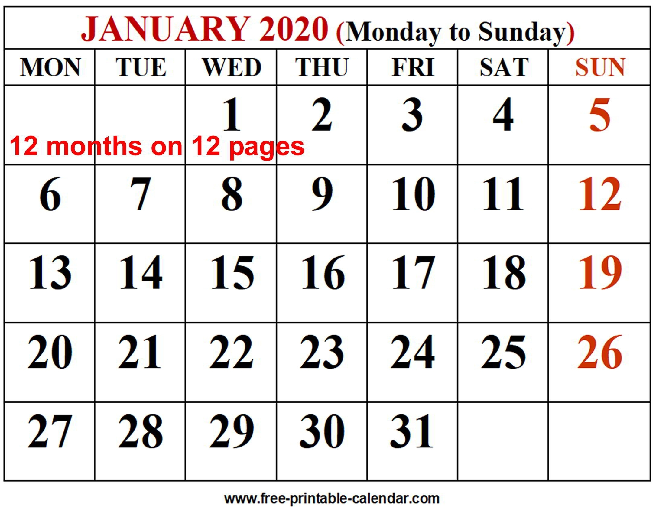 2020 Calendar Template - Free-Printable-Calendar with 2020 12 Month Monday To Sunday Calendar Template