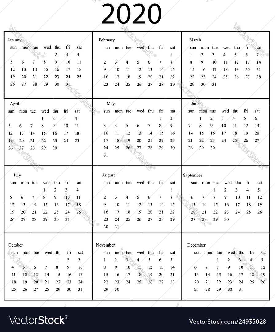 2020 Calendar Template Starts Sunday Year intended for Calendar 2020 Monday - Sunday