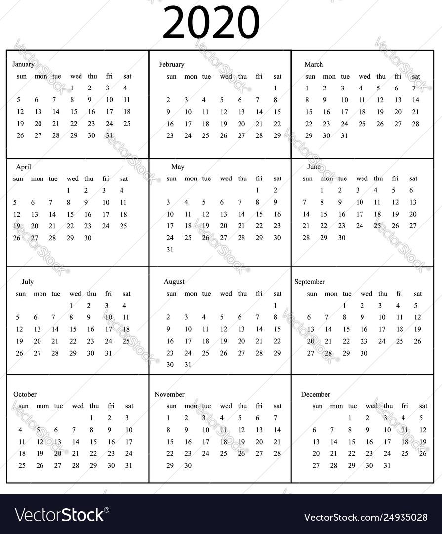 2020 Calendar Template Starts Sunday Year regarding Calendaer 2020 Monday To Sunday