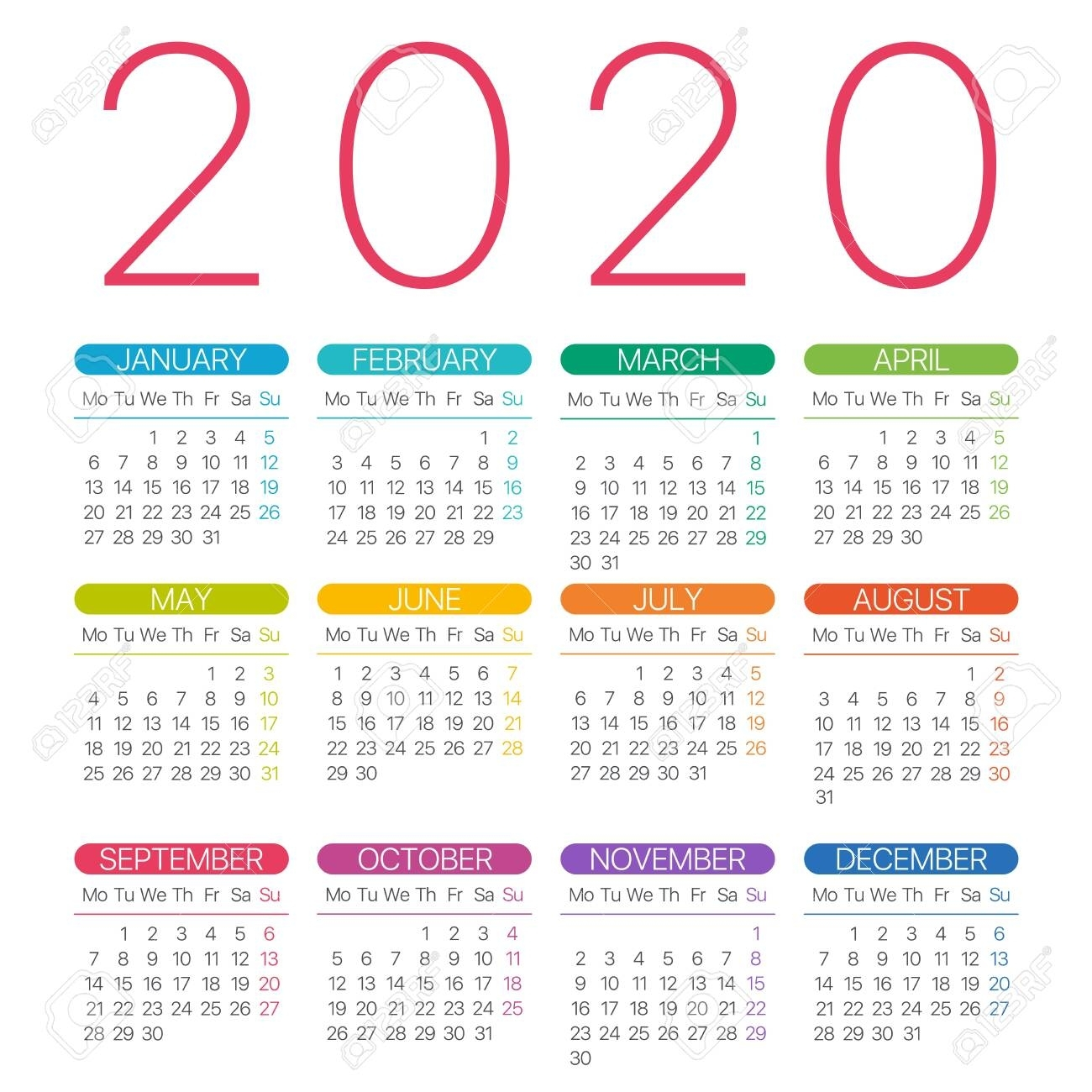 2020 Calendar Thin Line - Monday To Sunday - Vector Template pertaining to Monday To Sunday 2020 Calendar