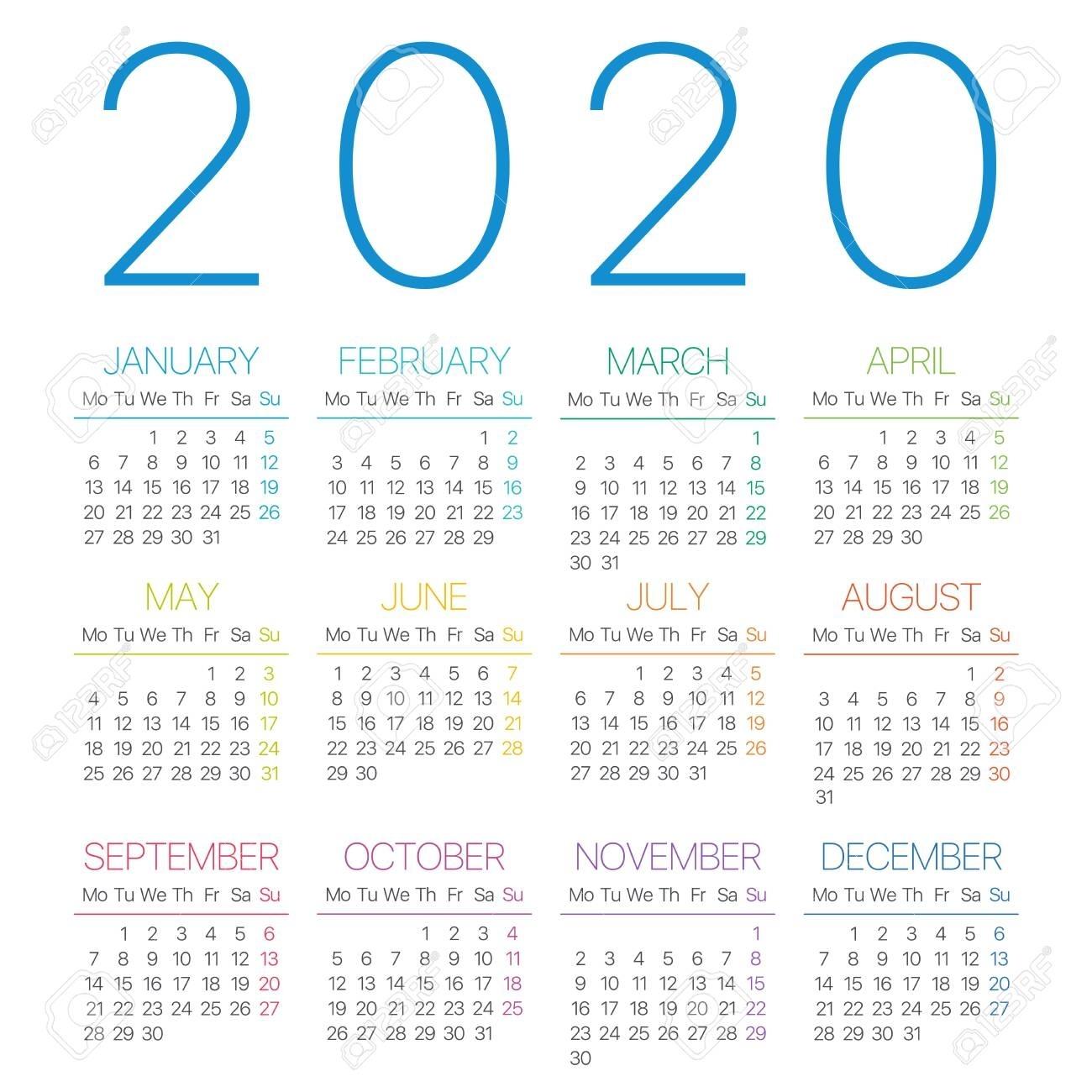 2020 Calendar Thin Line - Monday To Sunday - Vector Template regarding 2020 Calendar Template Monday Sunday